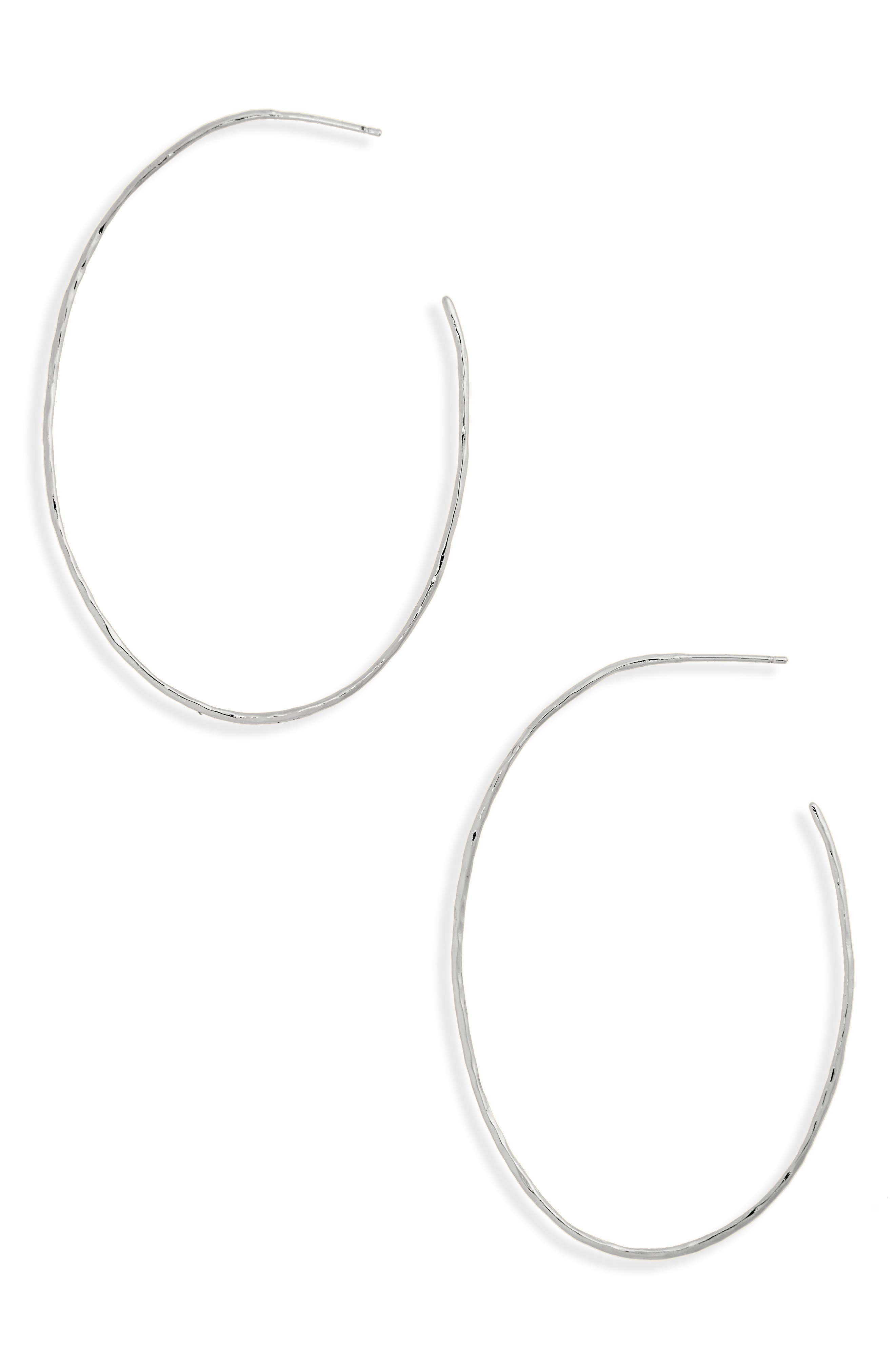 Summer Oval Hoop Earrings,                         Main,                         color, SILVER