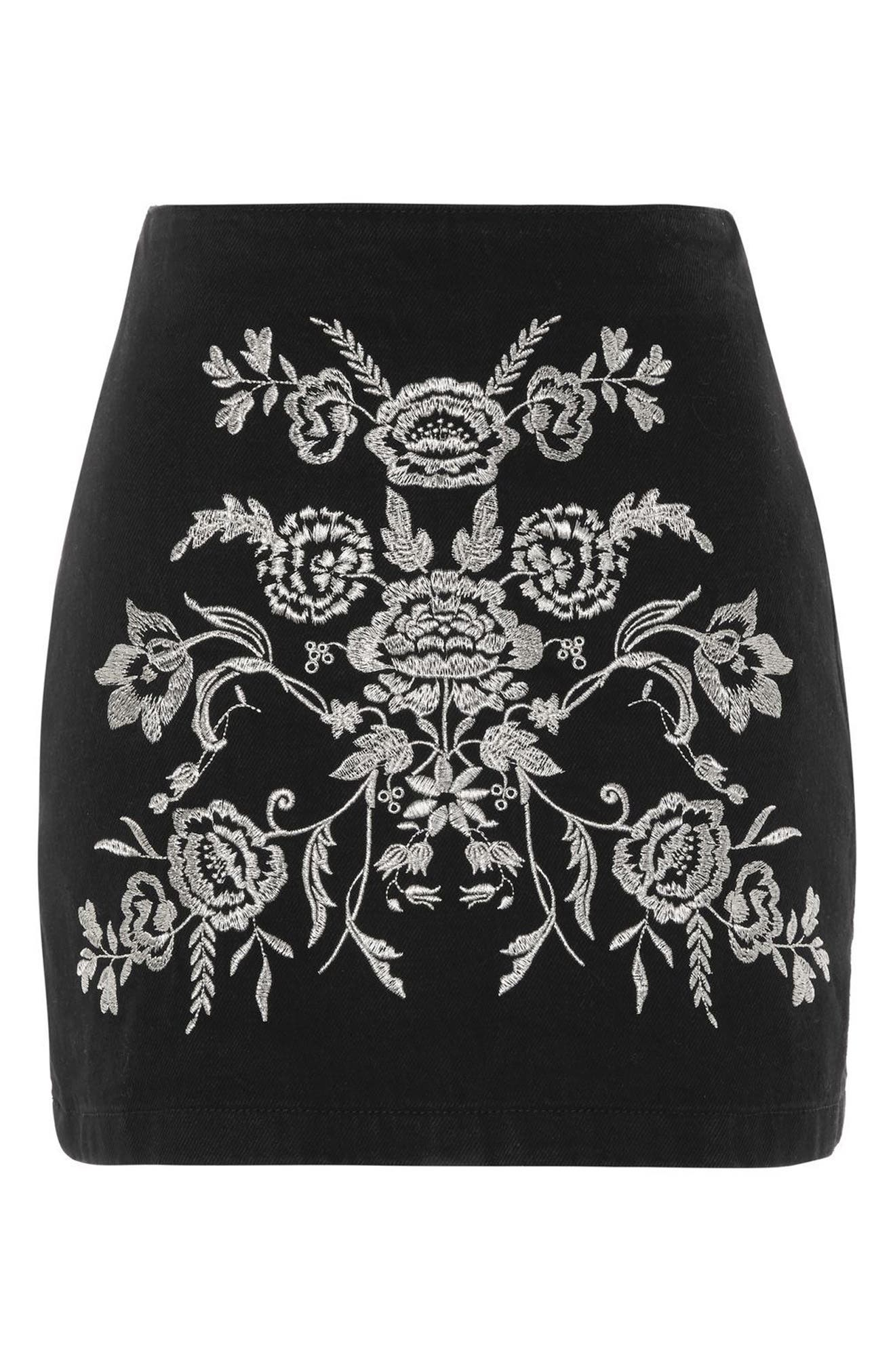 Floral Embroidered A-Line Skirt,                             Alternate thumbnail 3, color,                             001