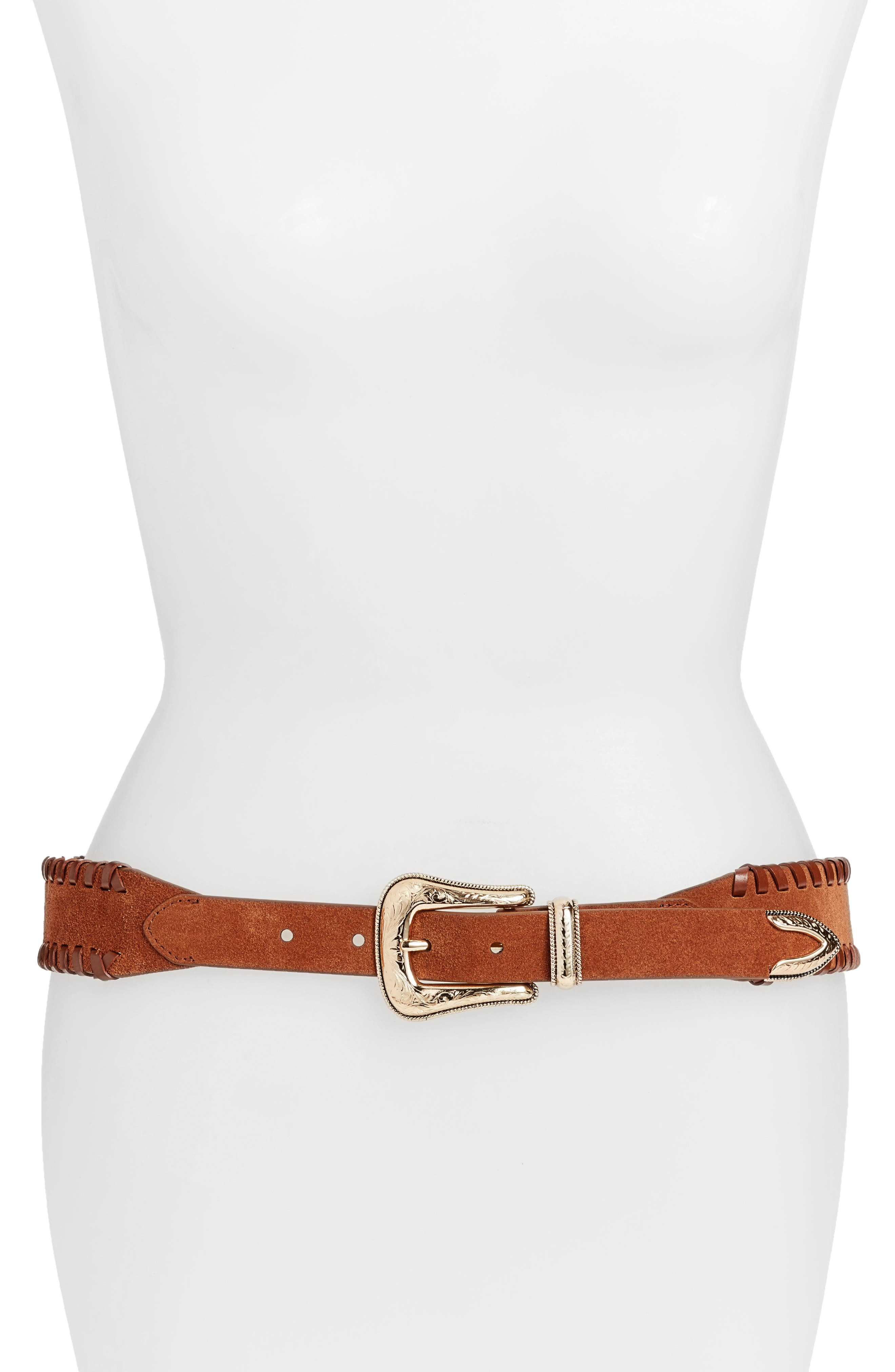 Amy Whipstitch Suede Belt,                             Main thumbnail 2, color,