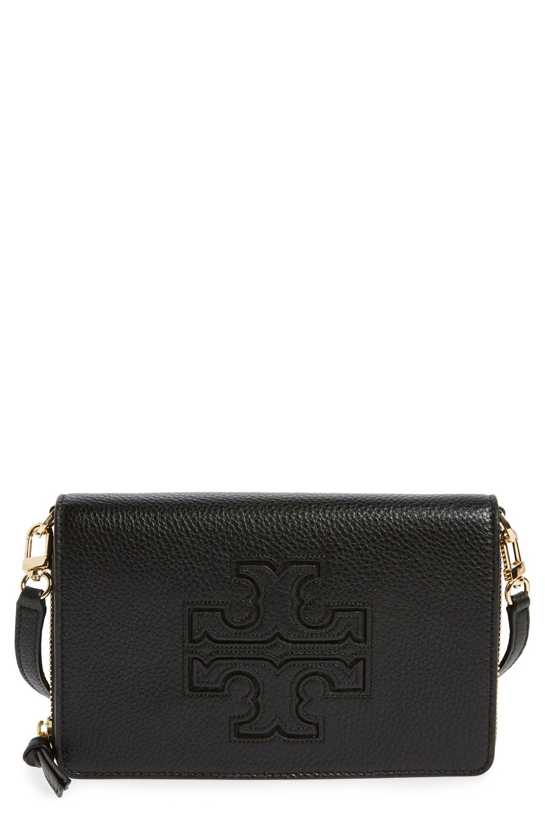 'Harper' Pebbled Leather Wallet Crossbody Bag,                             Main thumbnail 1, color,                             012