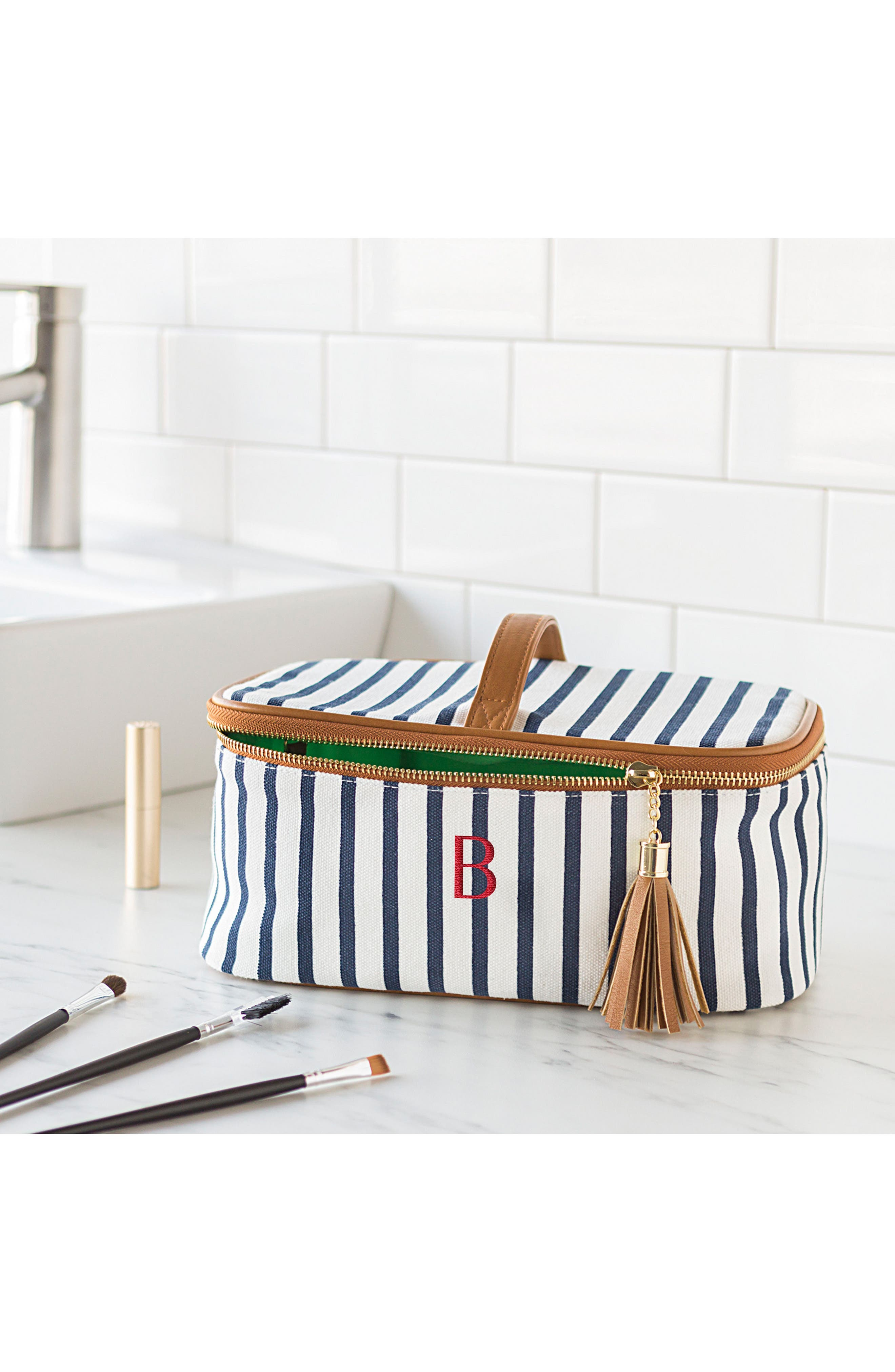 Monogram Stripe Canvas Cosmetics Case,                             Alternate thumbnail 6, color,                             BLUE