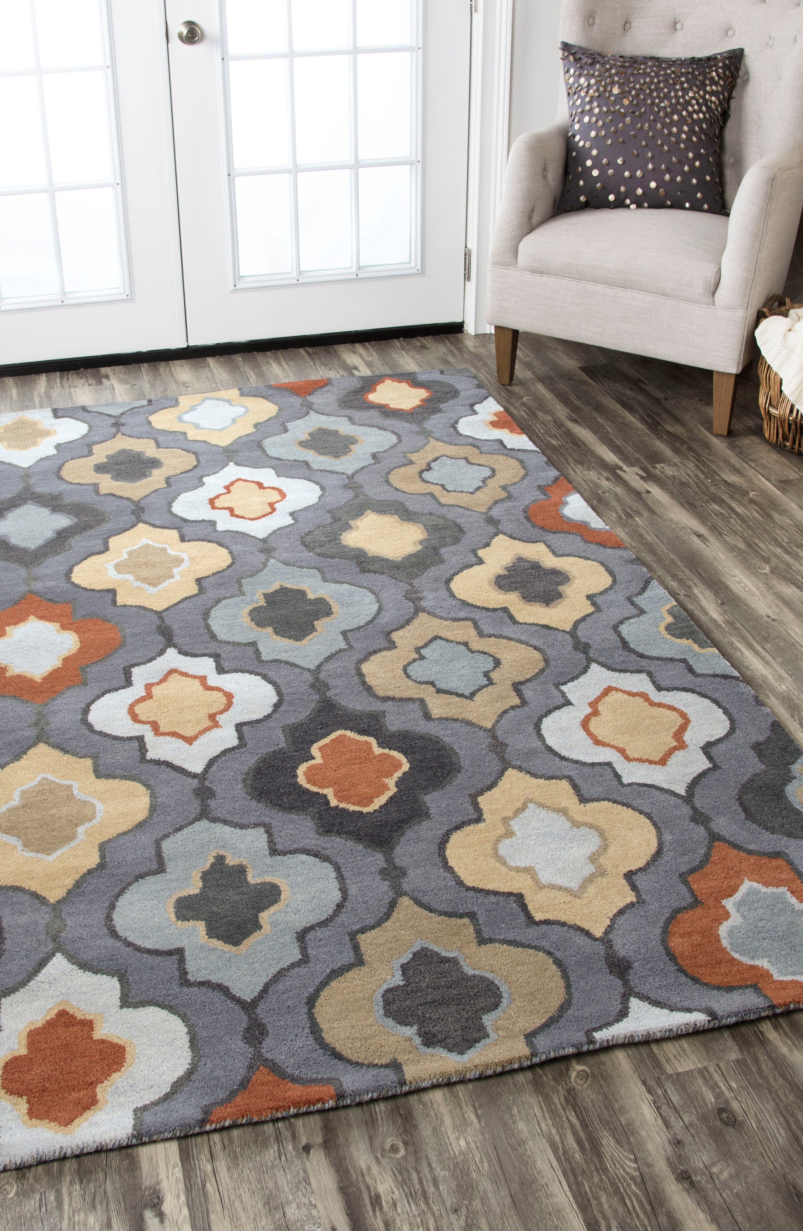 'Quatrefoil' Hand Tufted Wool Area Rug,                             Alternate thumbnail 2, color,                             030