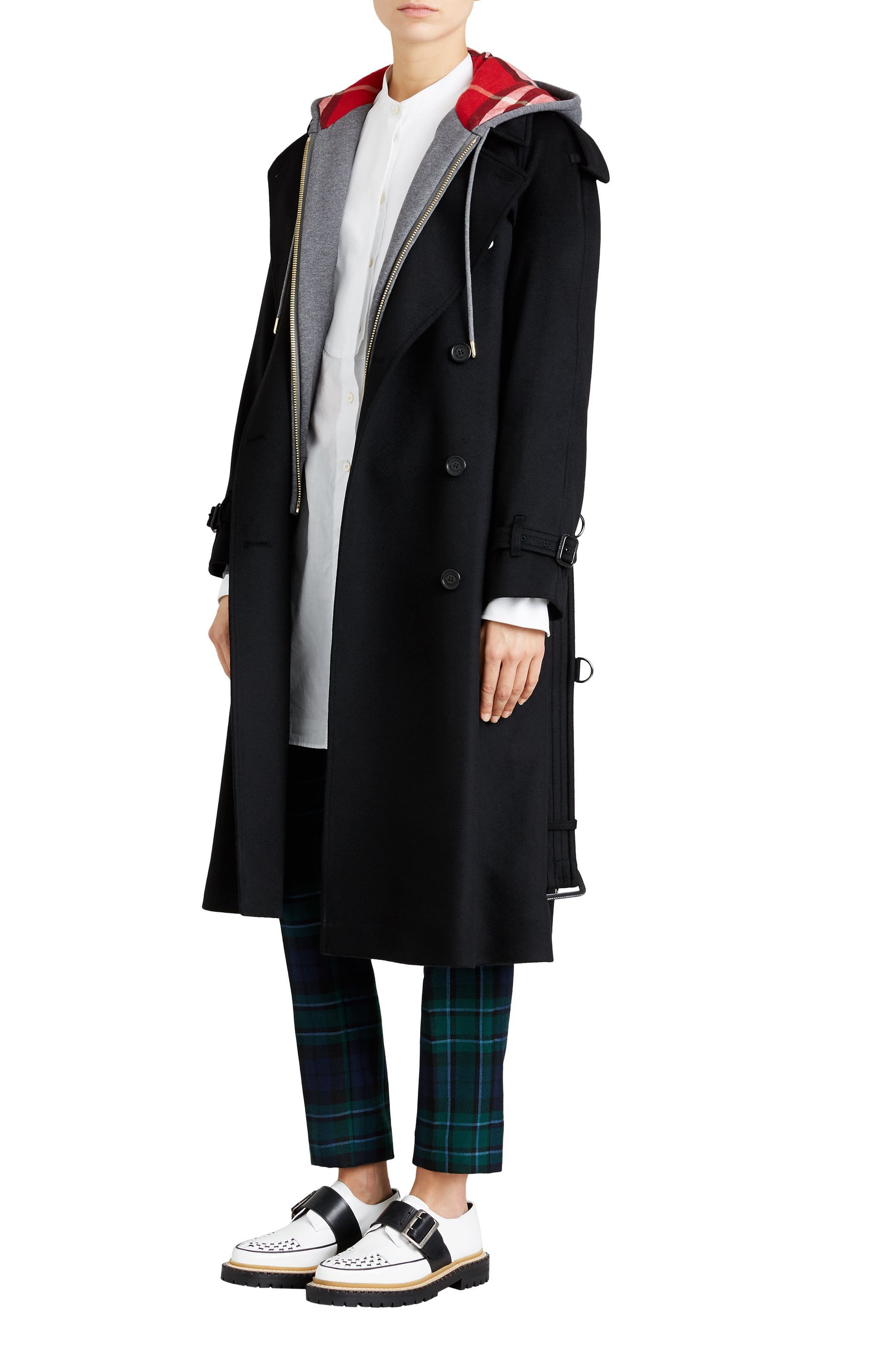 Eastheath Cashmere Trench Coat,                             Alternate thumbnail 3, color,                             BLACK