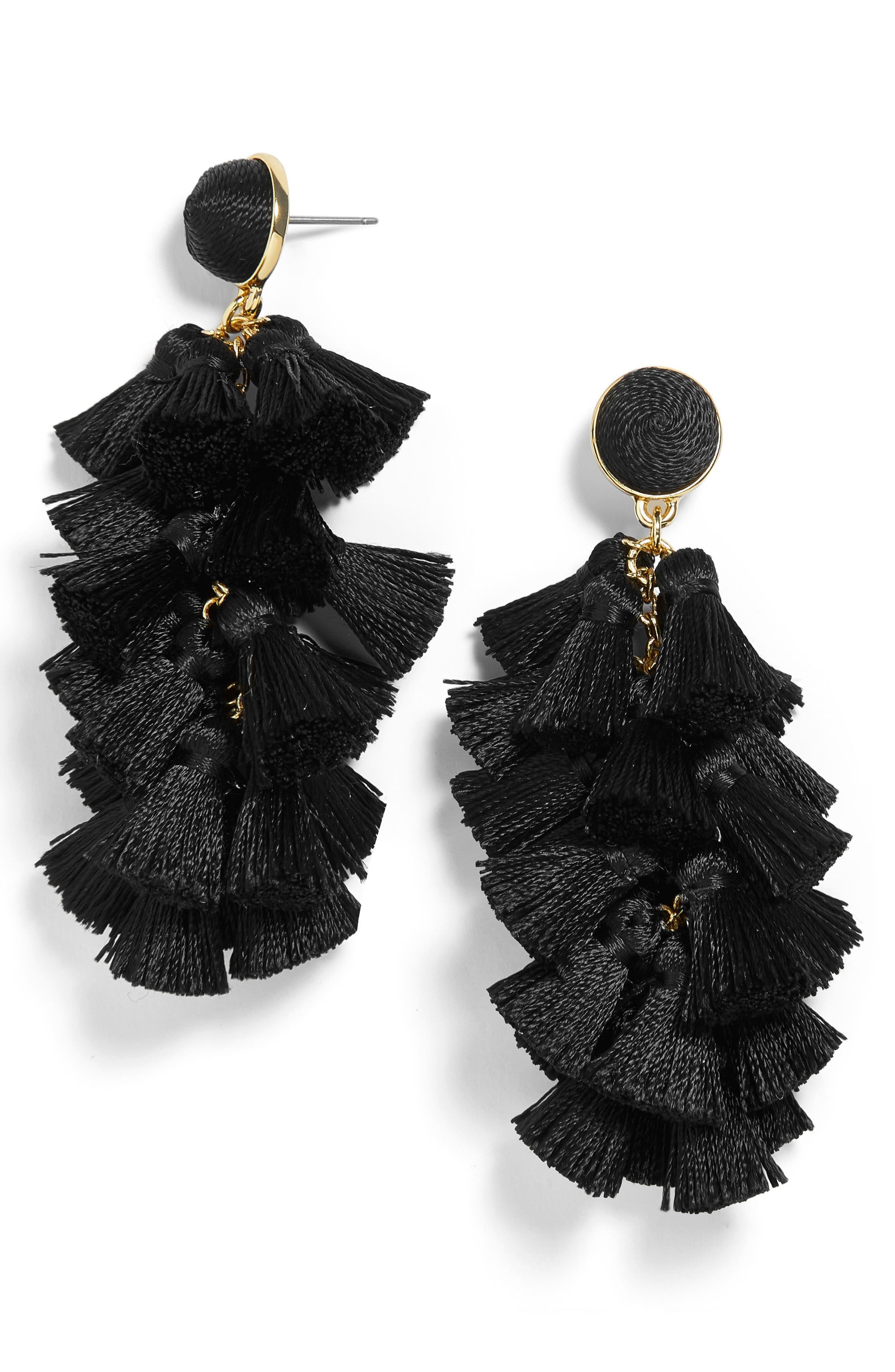 Contessa Tassel Earrings,                         Main,                         color, BLACK