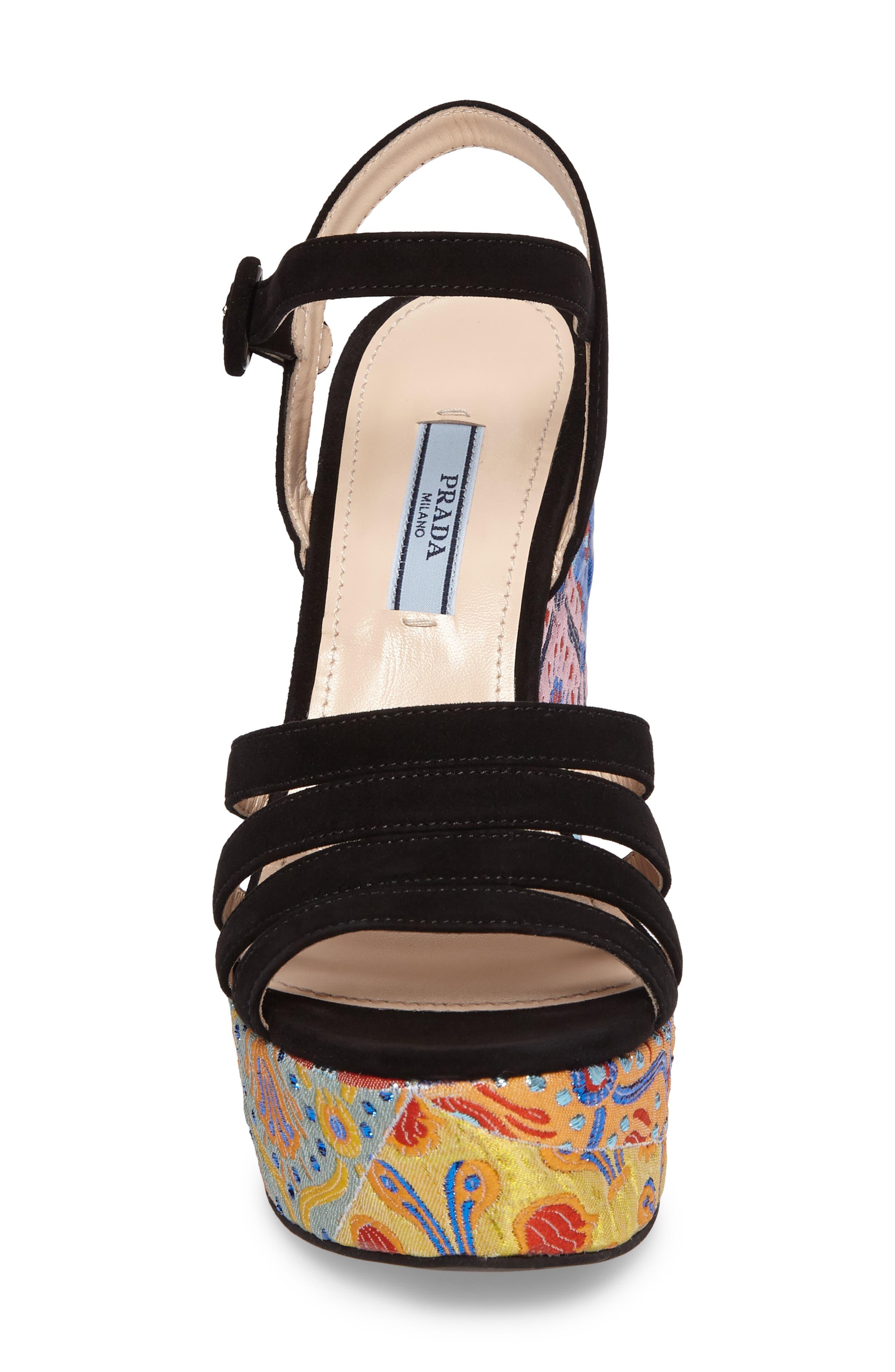 Floral Platform Wedge Sandal,                             Alternate thumbnail 4, color,                             002