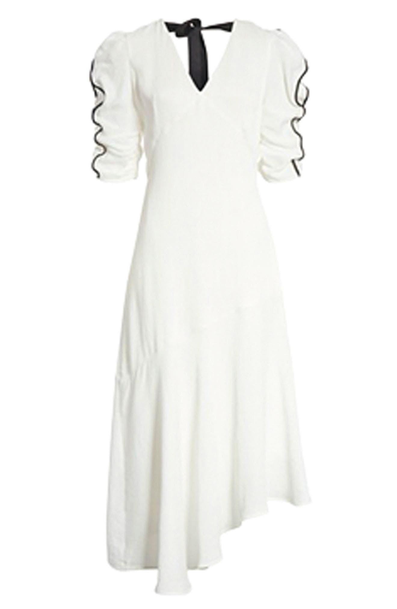 Prose & Poetry Shirley Ruffle Sleeve Midi Dress,                             Alternate thumbnail 7, color,                             101