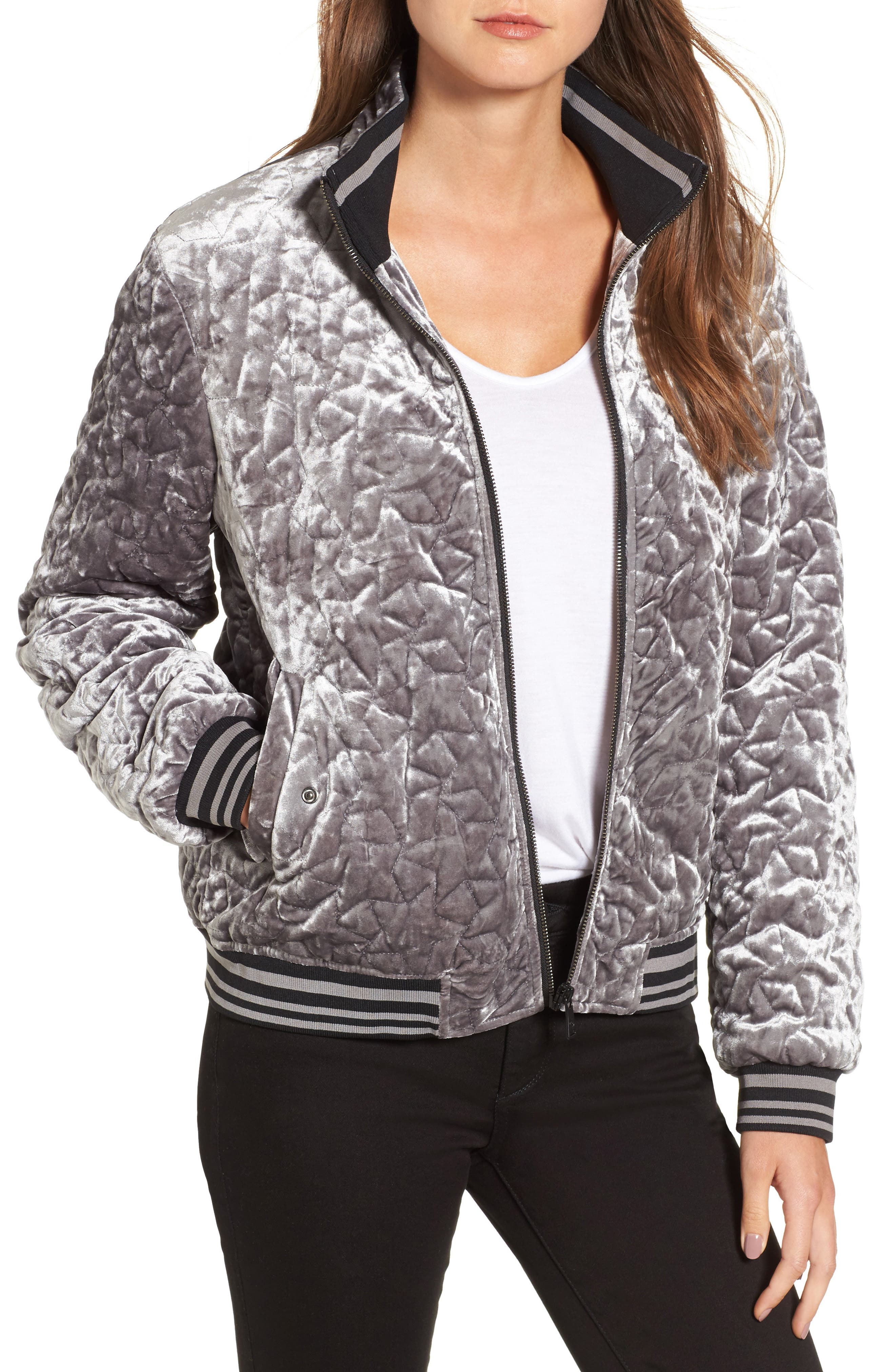 Quilted Velvet Bomber Jacket,                             Main thumbnail 1, color,                             049