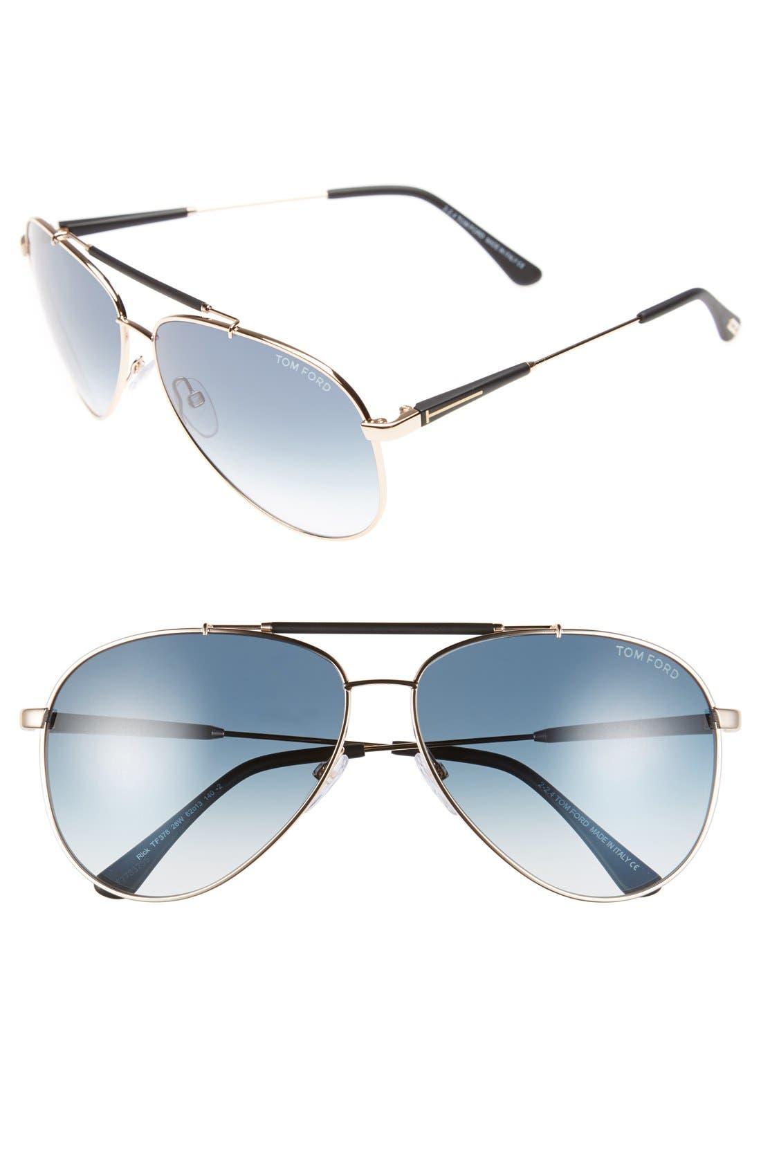 Rick 62mm Aviator Sunglasses,                             Main thumbnail 4, color,