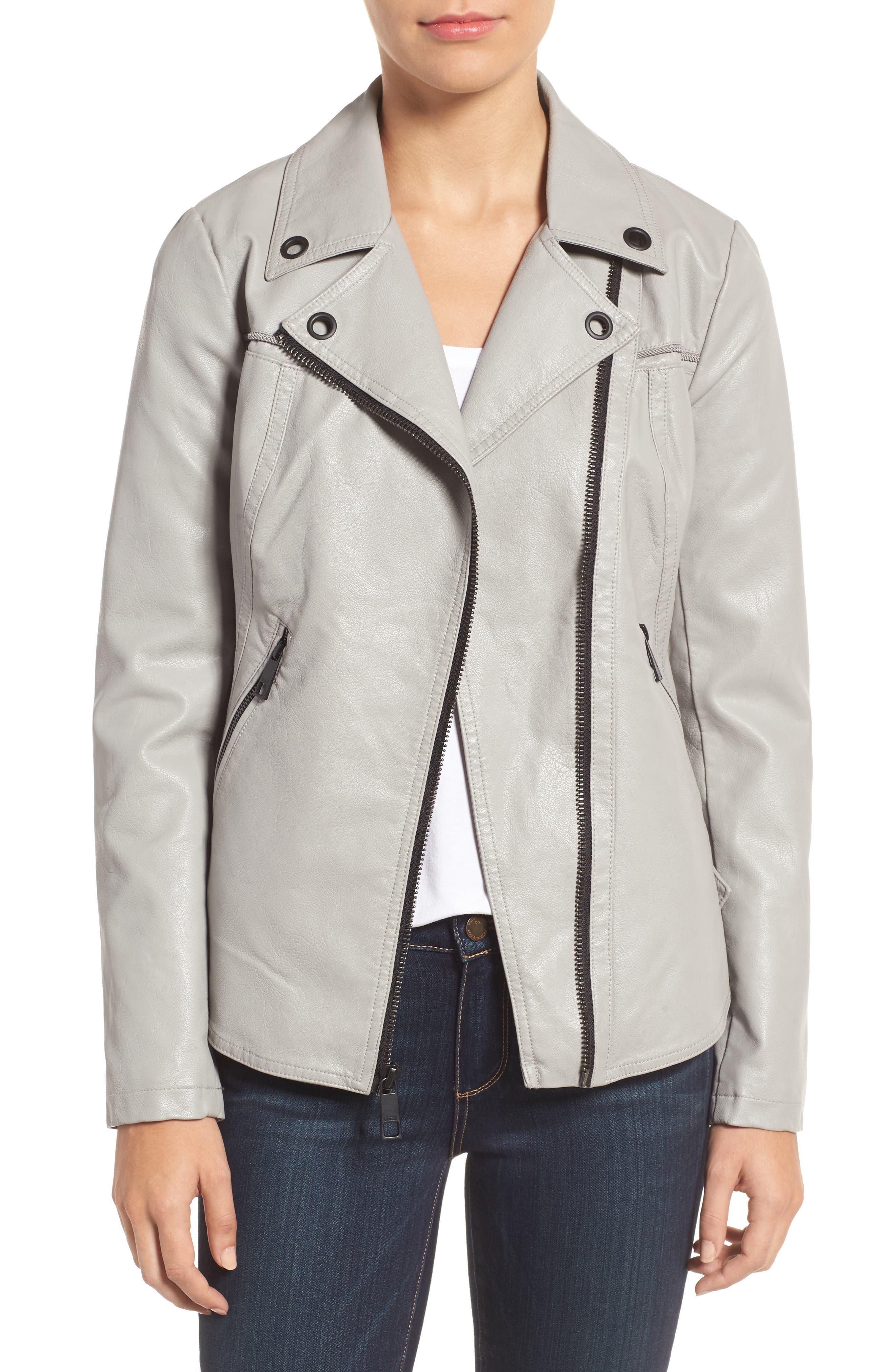 Faux Leather Moto Jacket,                             Alternate thumbnail 4, color,