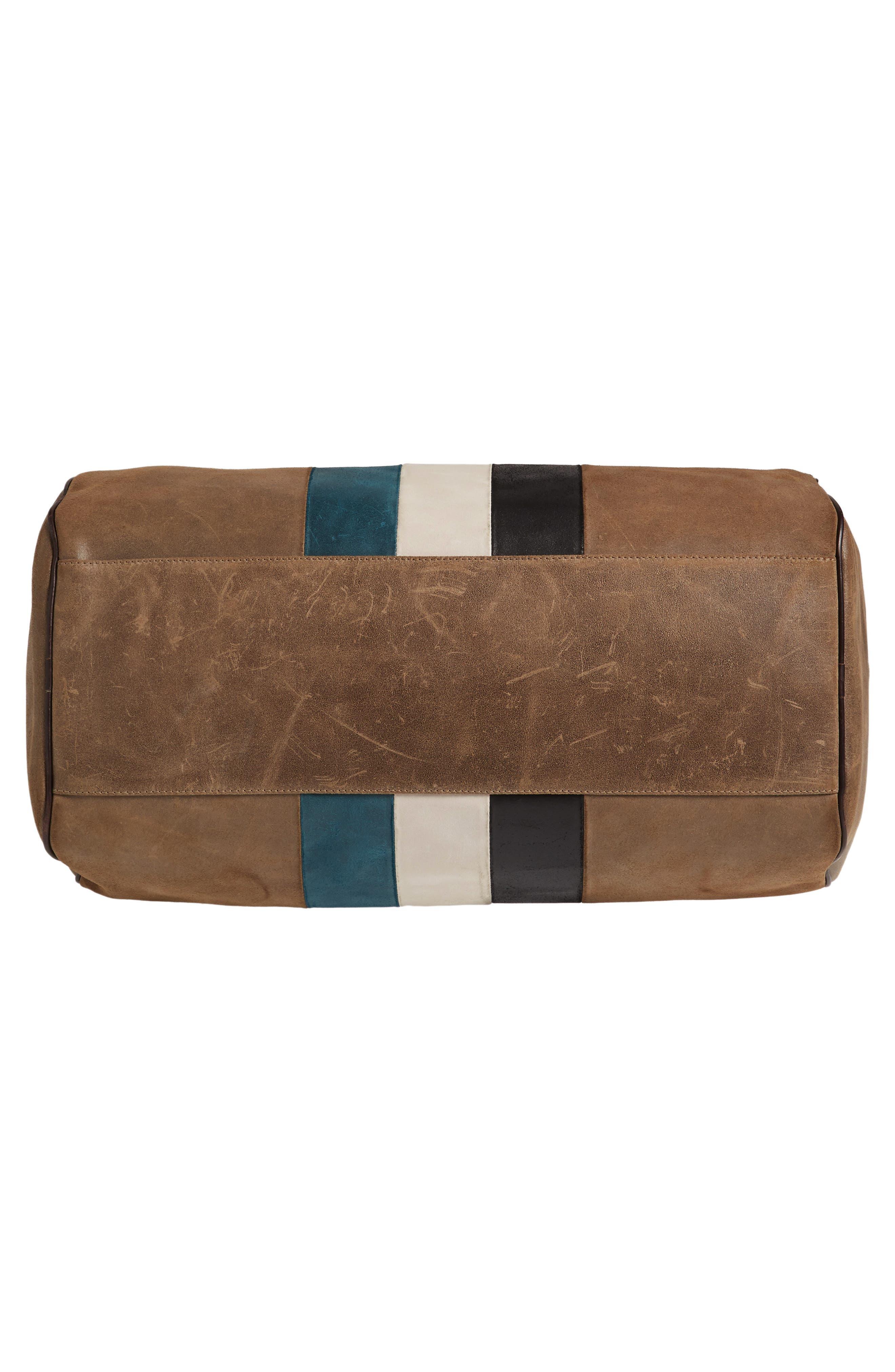 Grove Stripe Leather Duffel Bag,                             Alternate thumbnail 5, color,                             250