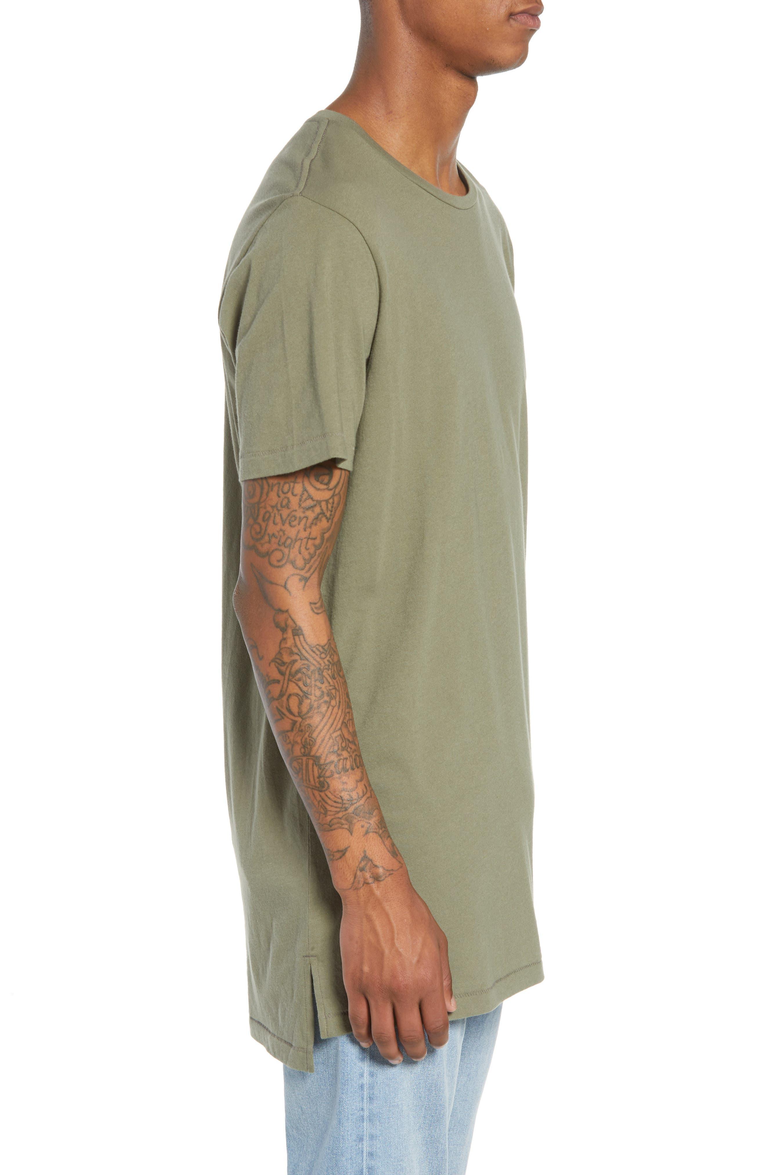 Longline T-Shirt,                             Alternate thumbnail 3, color,                             OLIVE GROVE