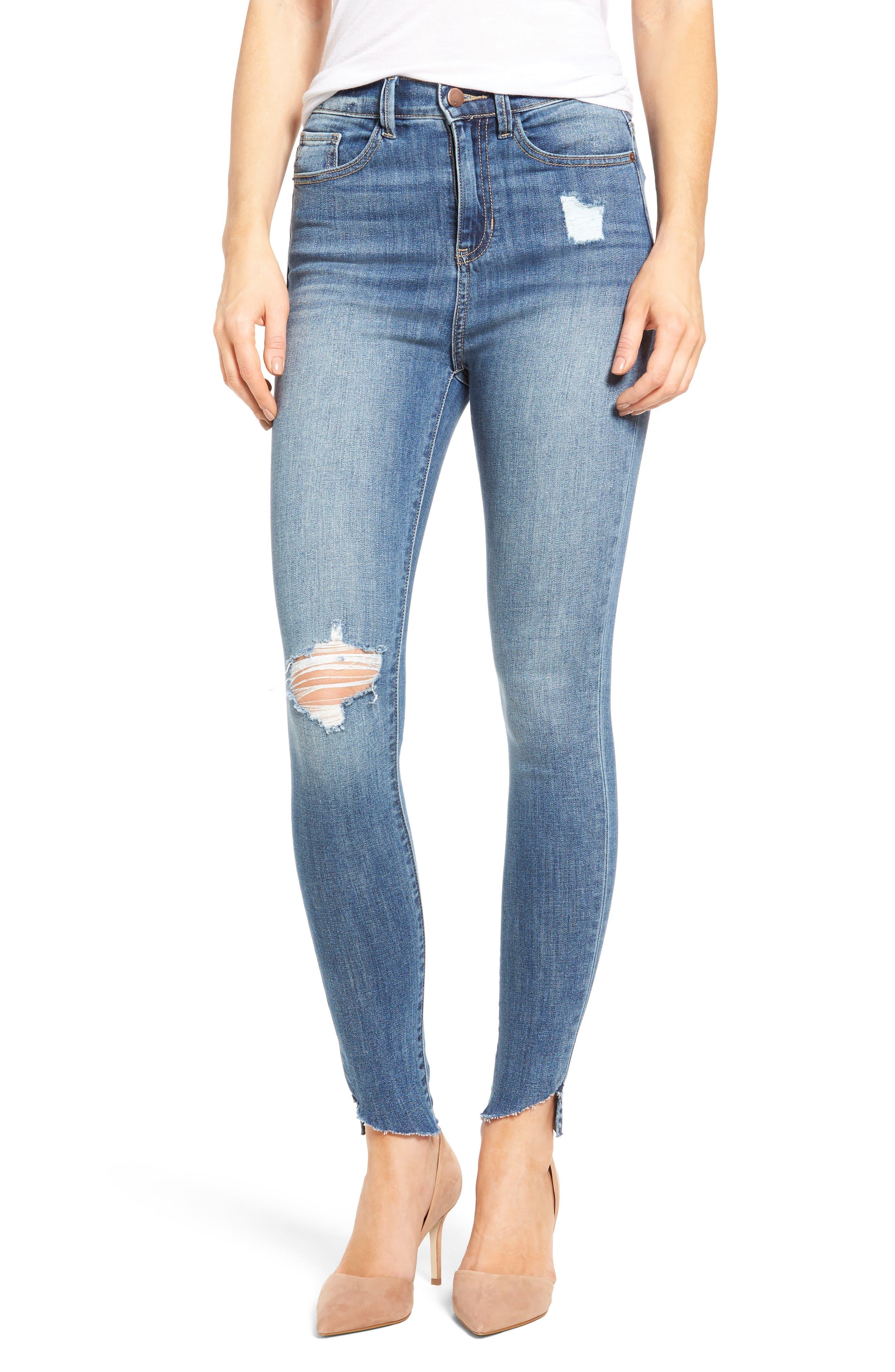 Decon Raw Edge High Waist Skinny Jeans,                             Main thumbnail 1, color,                             420