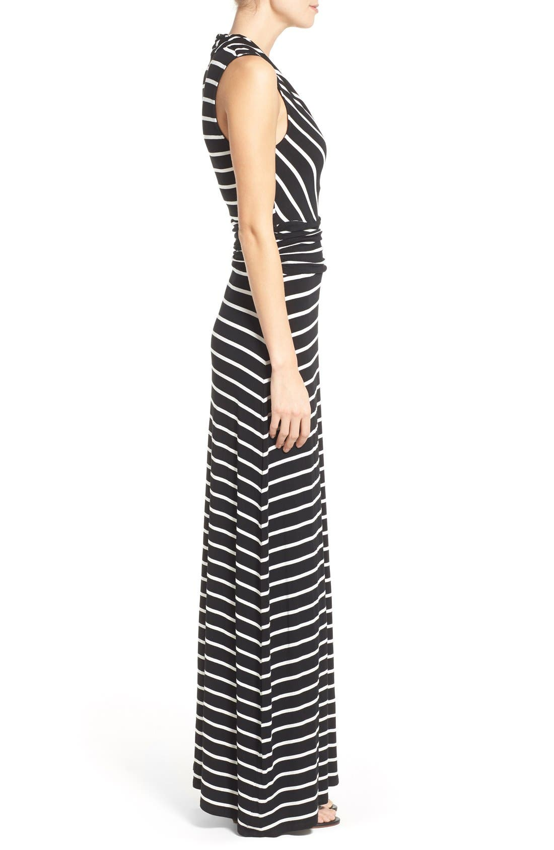 Stripe V-Neck A-Line Maxi Dress,                             Alternate thumbnail 2, color,