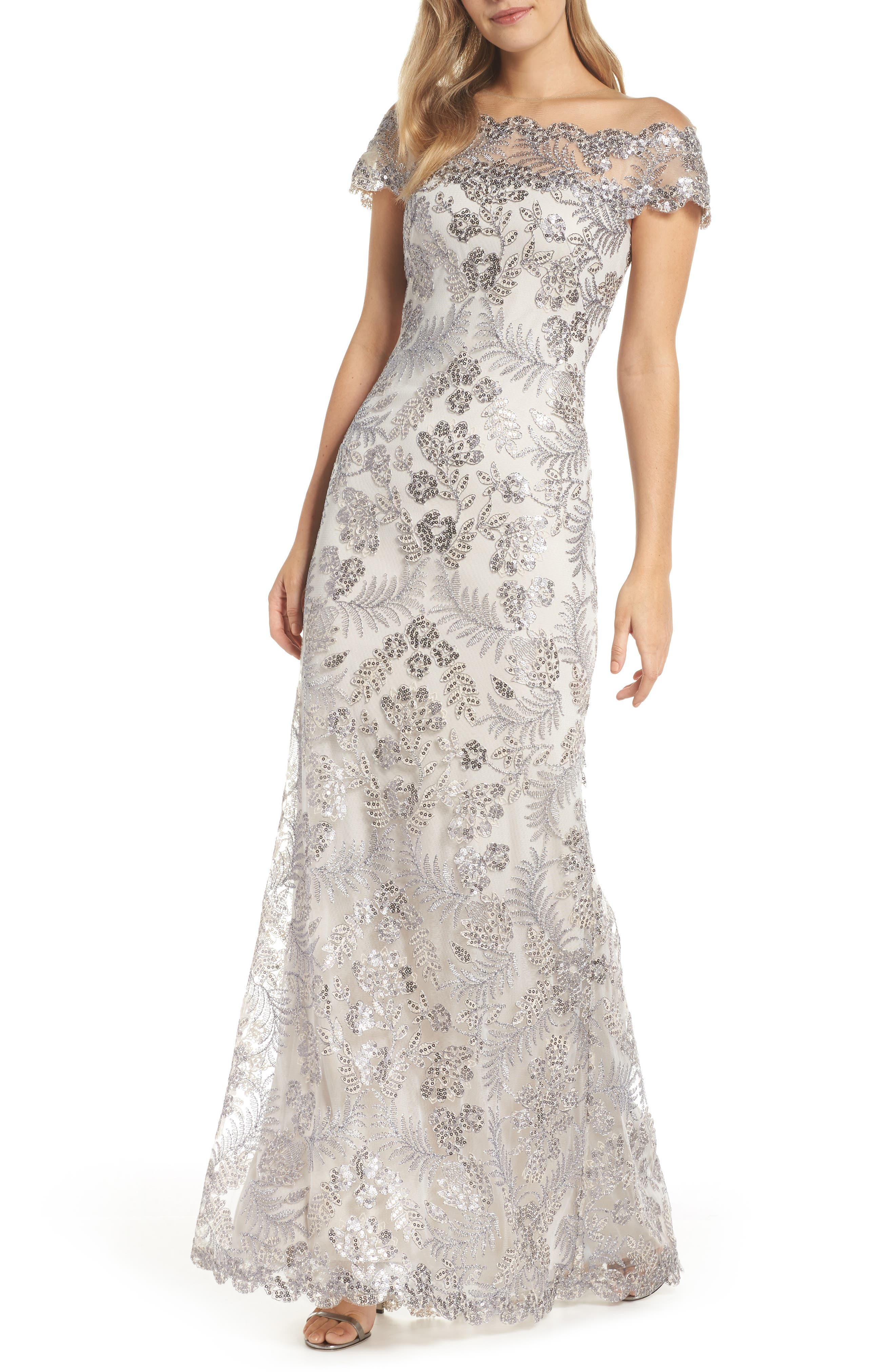 Vintage Inspired Wedding Dress | Vintage Style Wedding Dresses Womens Tadashi Shoji Illusion Neck Sequin Lace Gown Size 4 - Ivory $548.00 AT vintagedancer.com