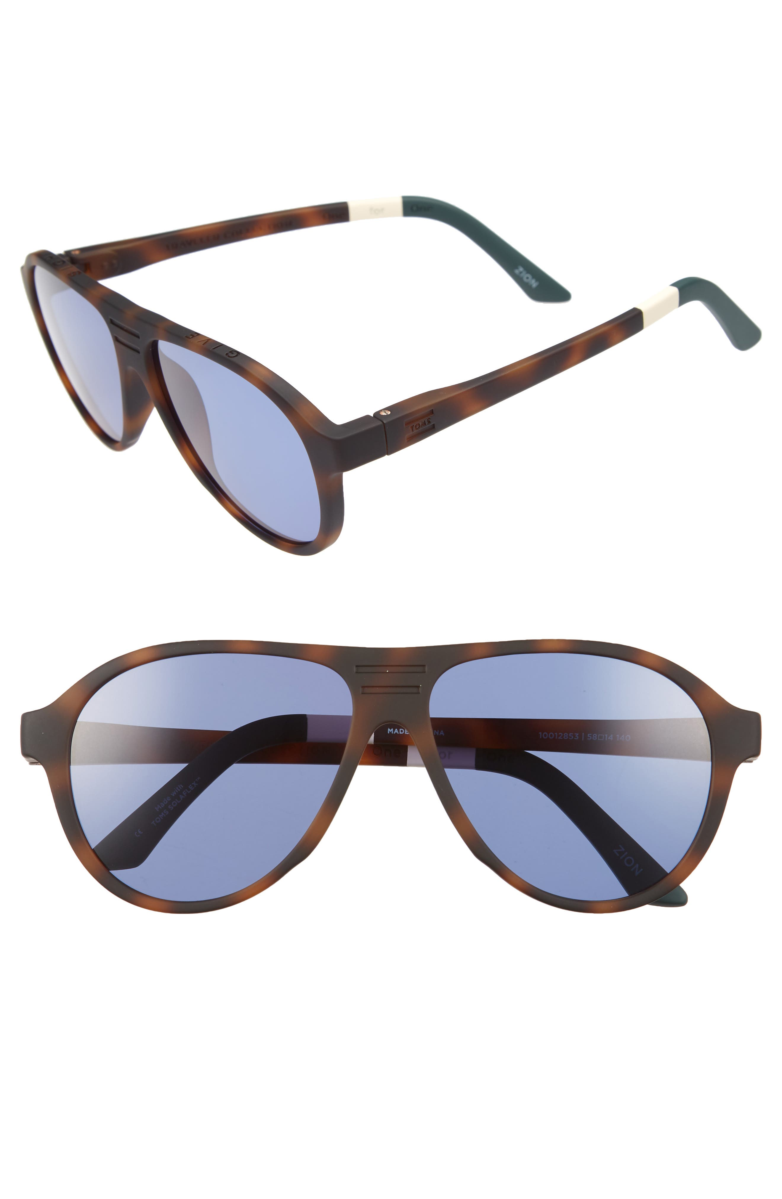 Traveler Zion 58mm Aviator Sunglasses,                         Main,                         color, MATTE DARK TORTOISE/ INDIGO