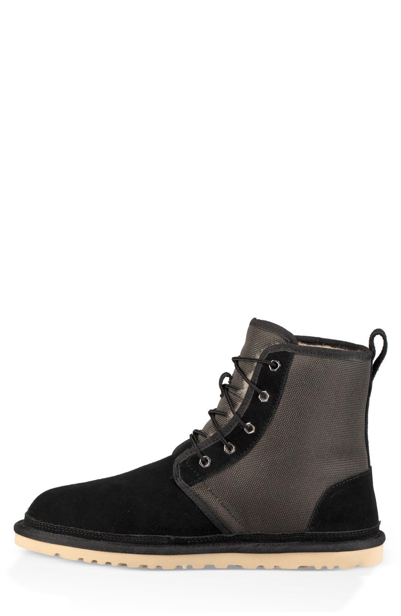 Harkley Lace-Up Boot,                             Alternate thumbnail 3, color,                             BLACK SUEDE