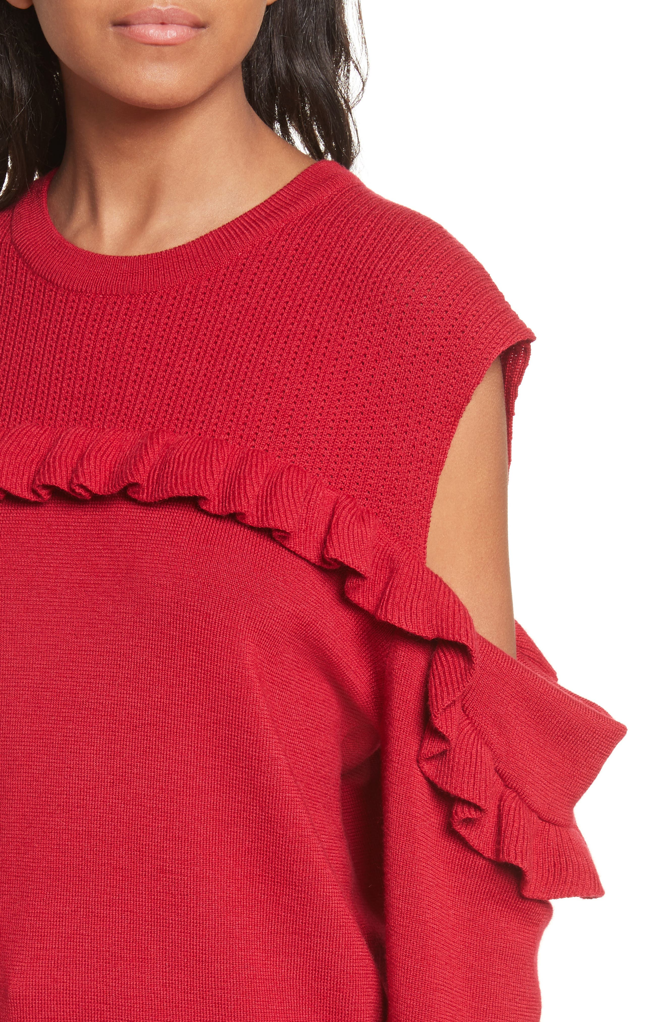 Ruffle Cold Shoulder Merino Wool Sweater,                             Alternate thumbnail 4, color,                             600