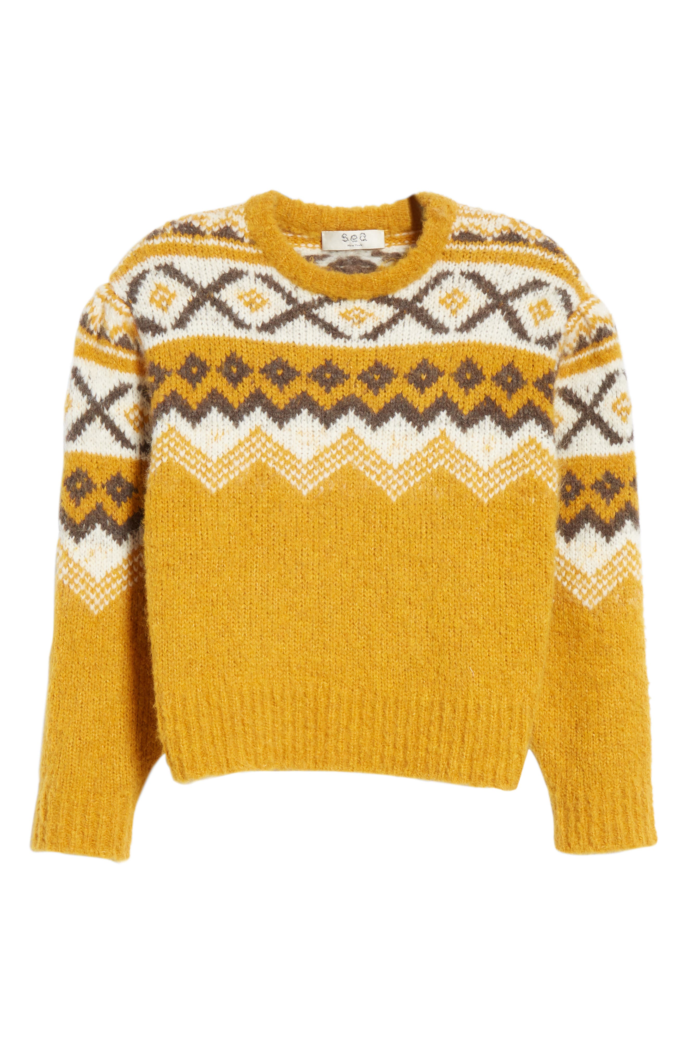 Fair Isle Shirred Sleeve Sweater,                             Alternate thumbnail 6, color,                             YELLOW