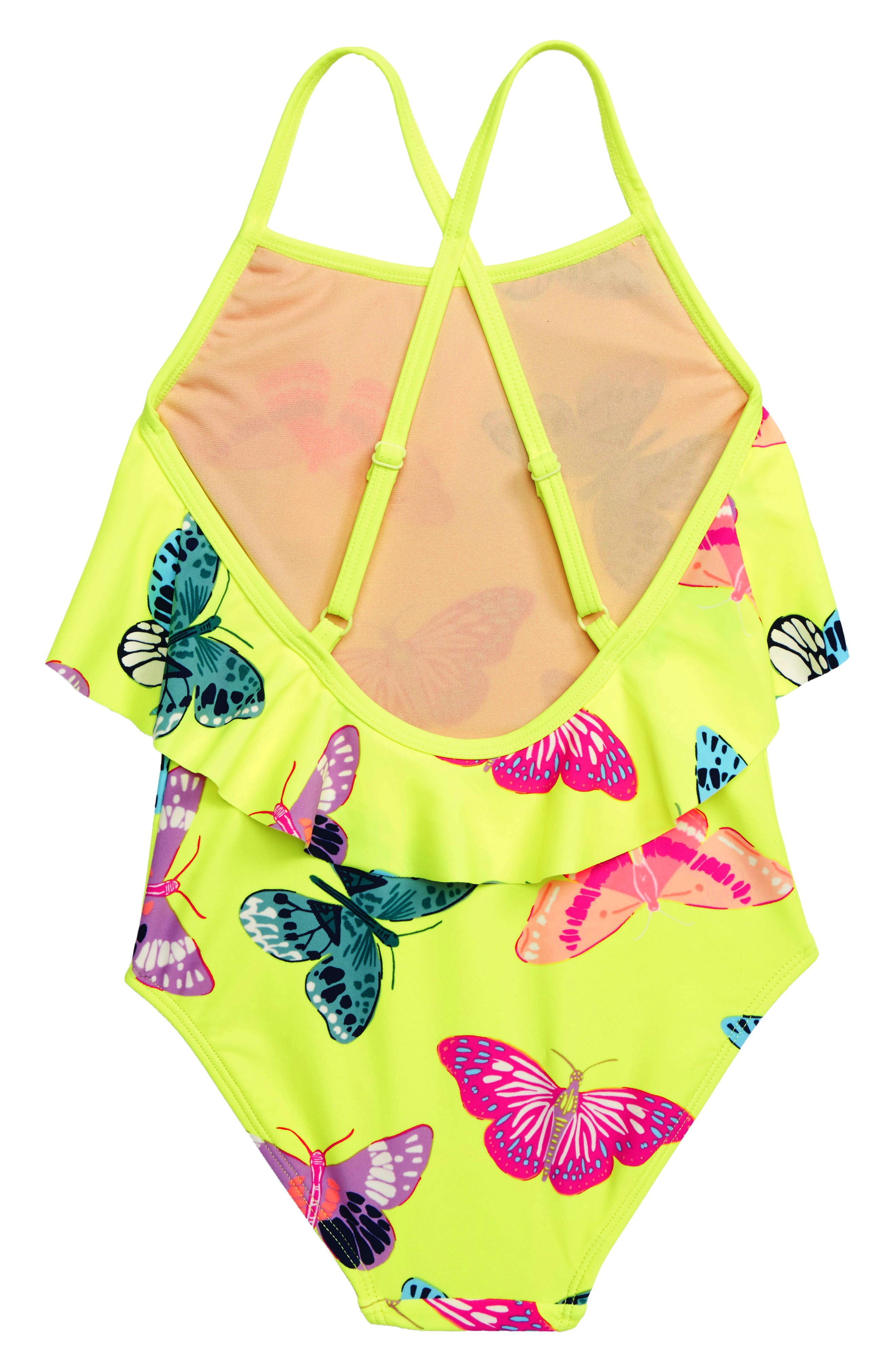 TEA COLLECTION,                             Ruffle One-Piece Swimsuit,                             Alternate thumbnail 2, color,                             GOSSAMER GLOW