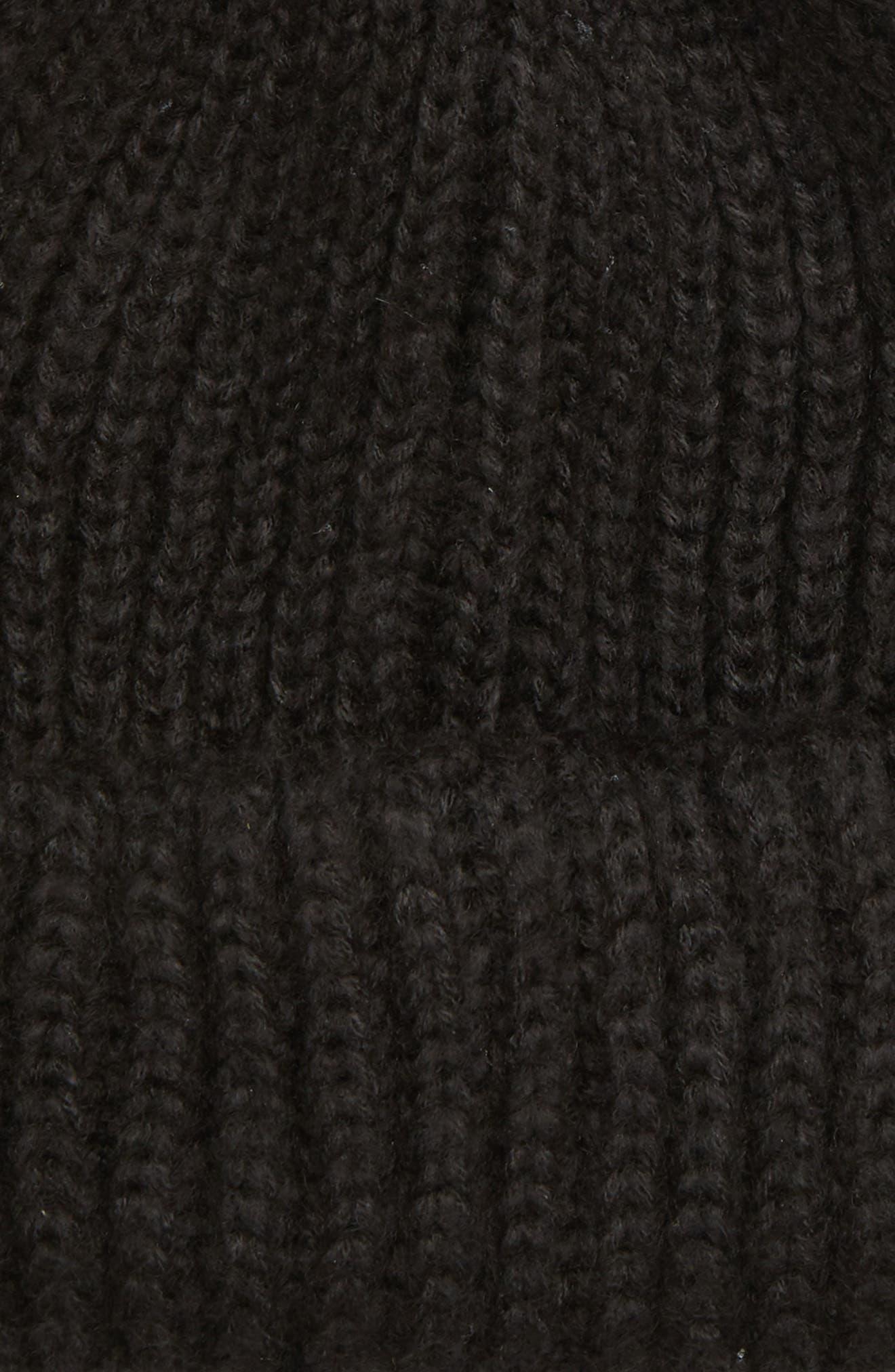 TOPSHOP,                             Faux Fur Pompom Beanie,                             Alternate thumbnail 2, color,                             BLACK