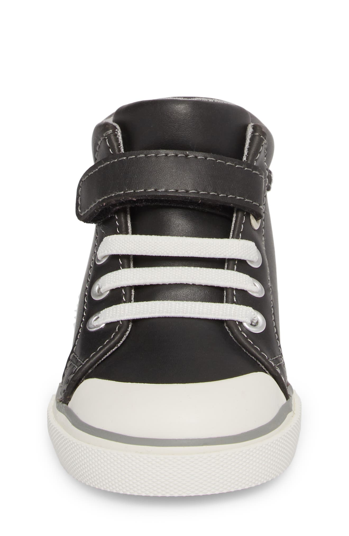 Peyton High Top Sneaker,                             Alternate thumbnail 4, color,                             BLACK LEATHER