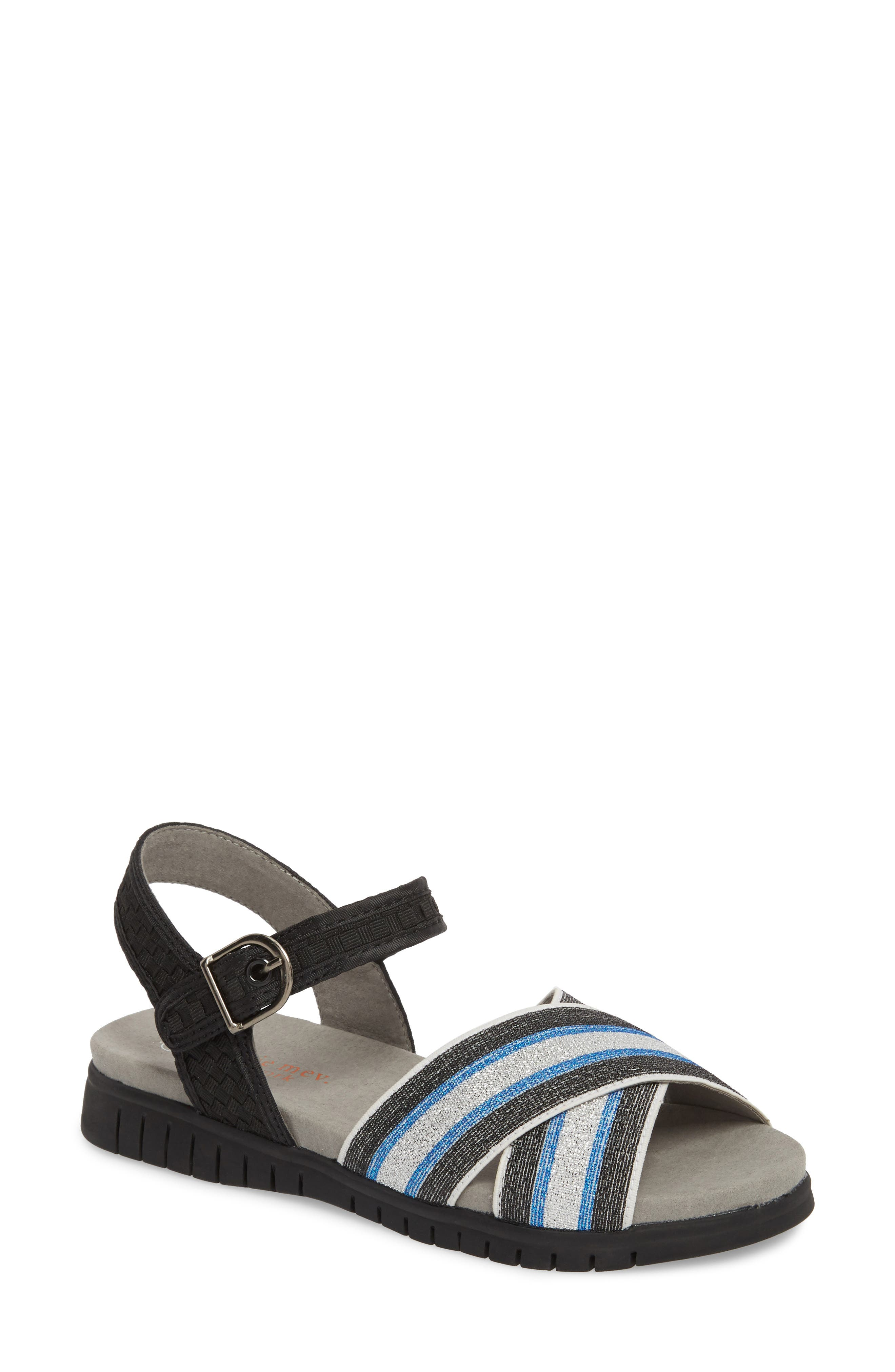 Malibu Sandal,                             Main thumbnail 1, color,                             BLACK BLUE STRIPE FABRIC
