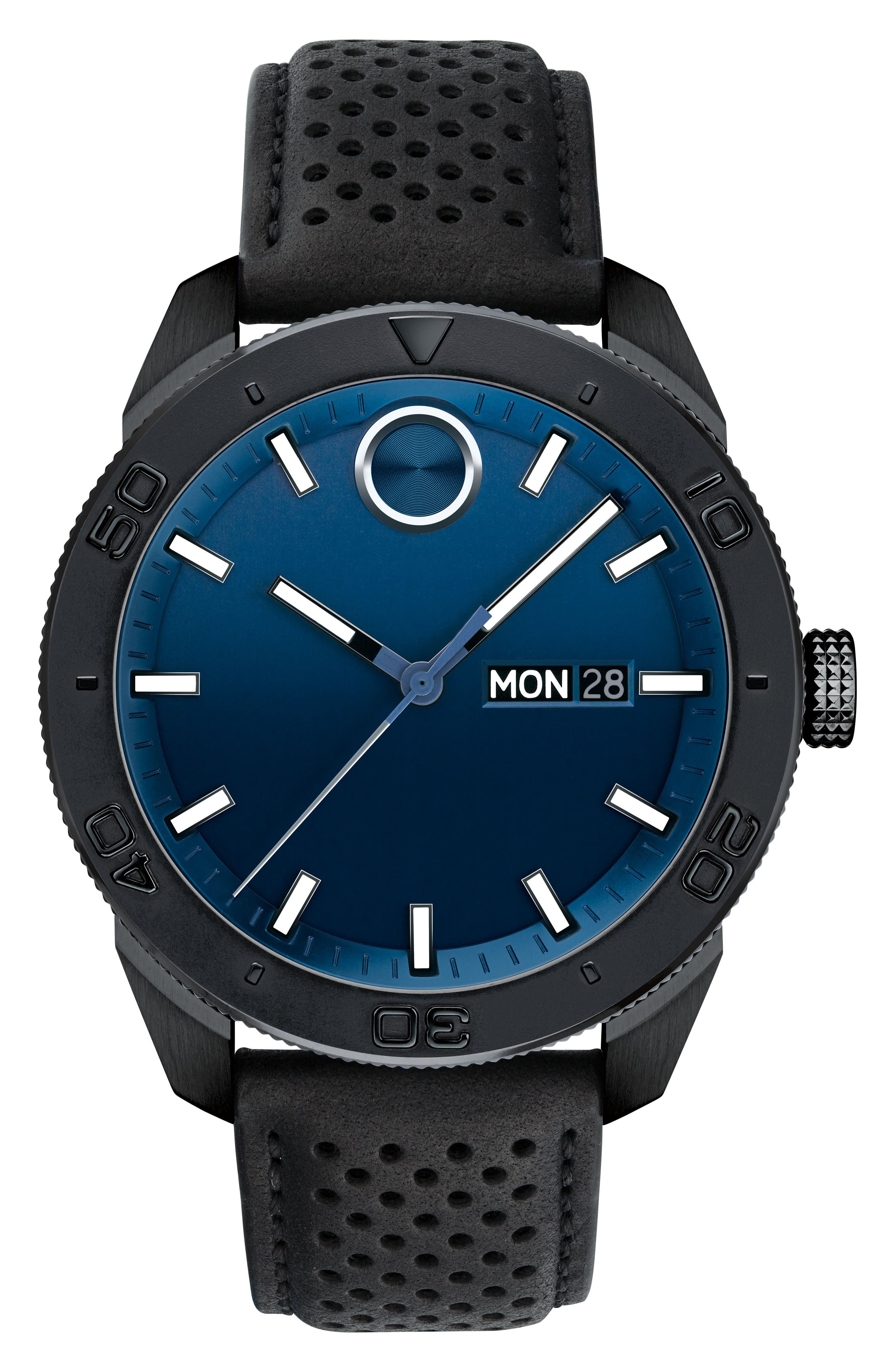 Bold Metals Sport Leather Strap Watch, 43mm,                         Main,                         color, BLACK/ BLUE/ BLACK