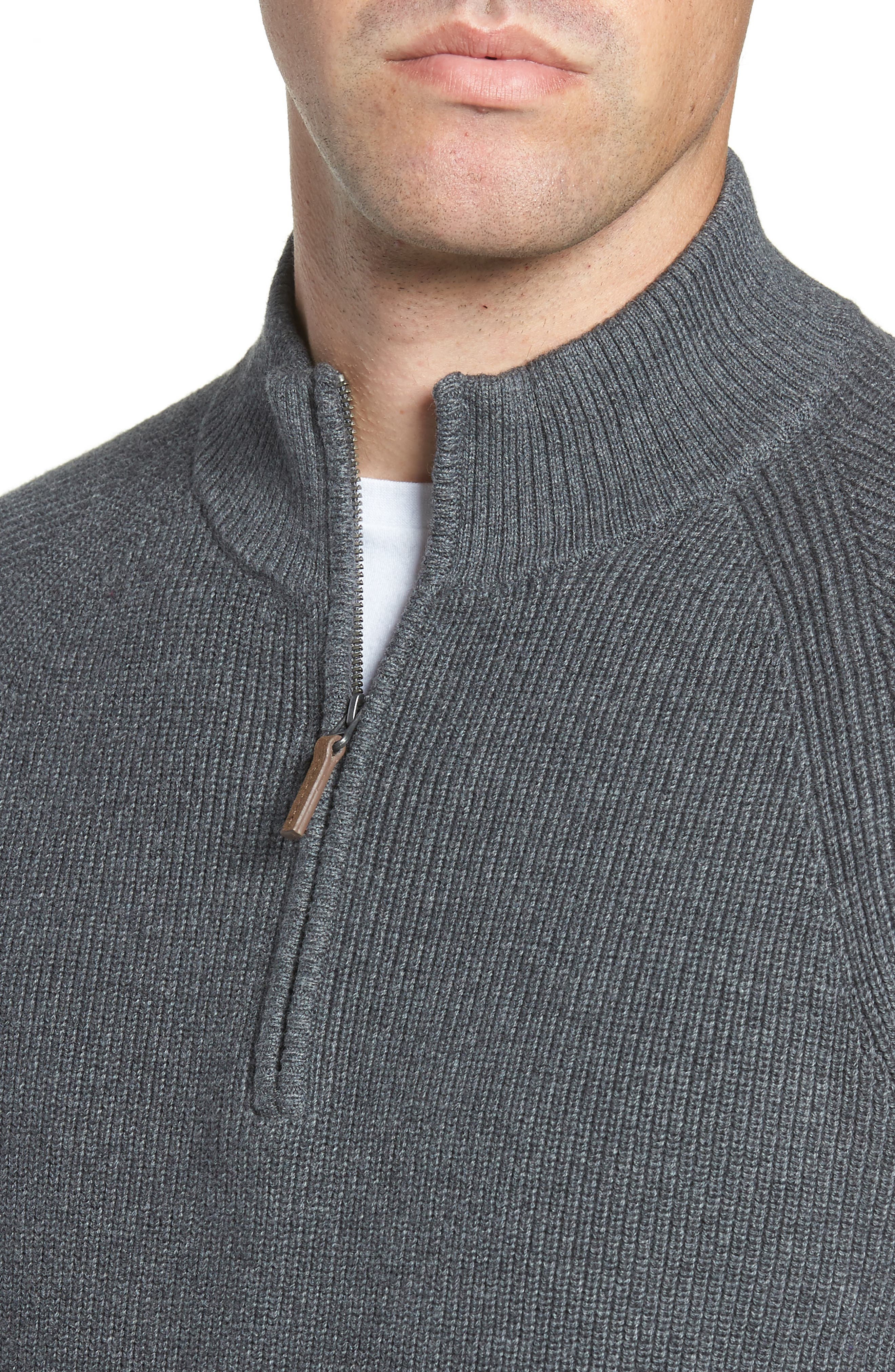 Ribbed Quarter Zip Sweater,                             Alternate thumbnail 4, color,                             GREY CASTLEROCK