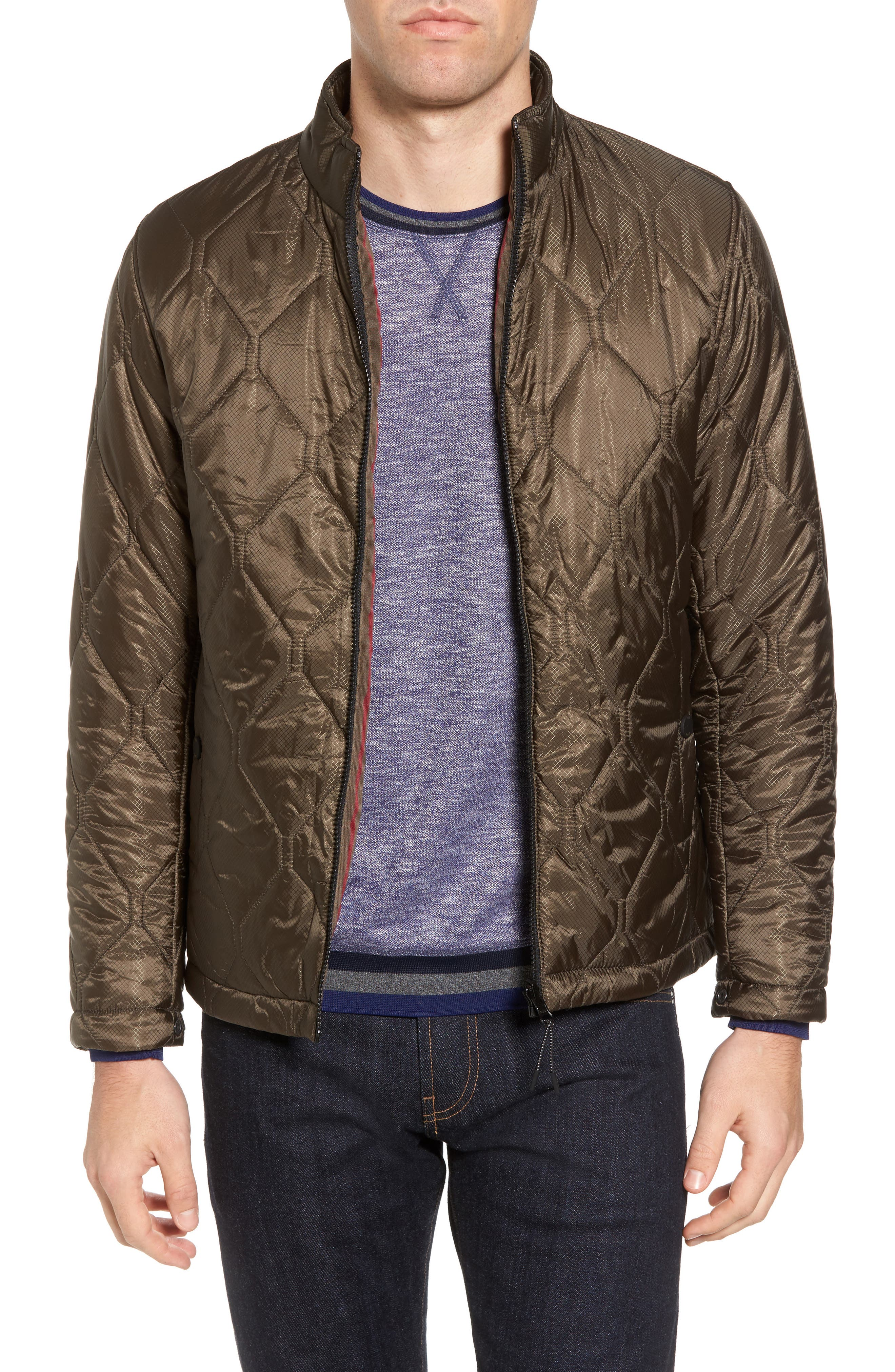 Nilson Trim Fit Quilted Field Jacket,                             Alternate thumbnail 4, color,                             312
