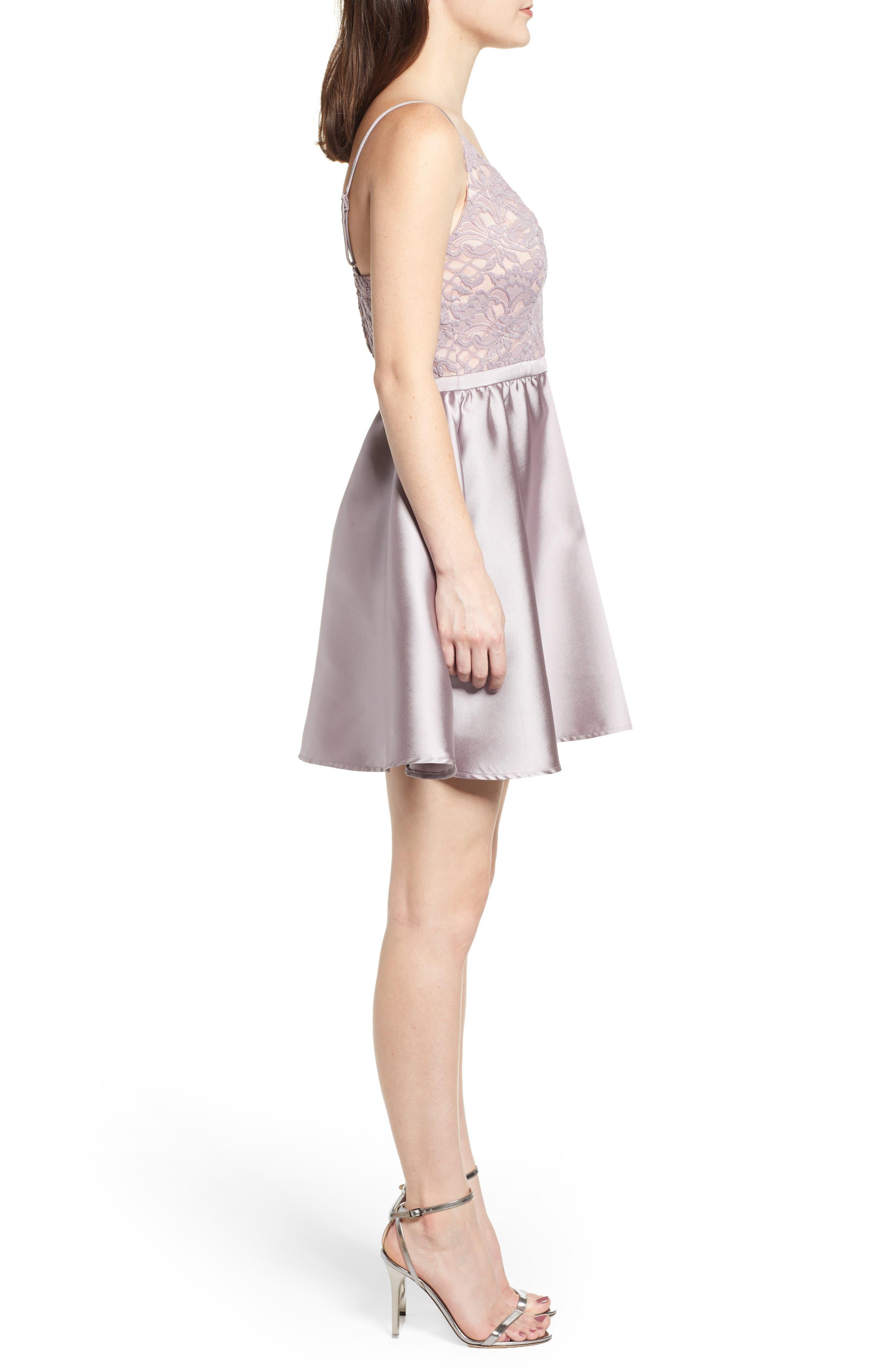 Lace & Taffeta Party Dress,                             Alternate thumbnail 3, color,                             MAUVE