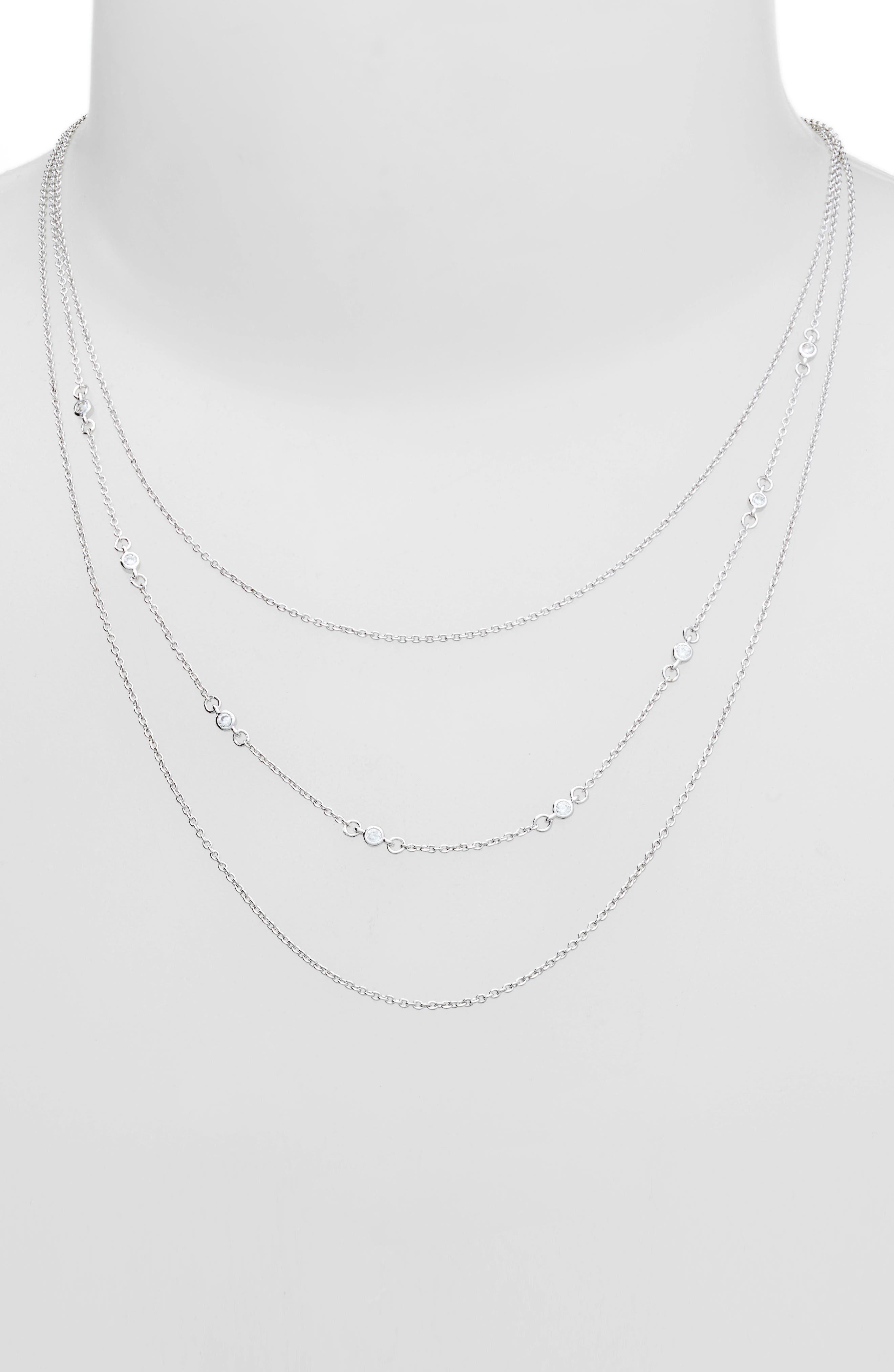 Shimmer Layered Necklace,                             Alternate thumbnail 2, color,                             SILVER