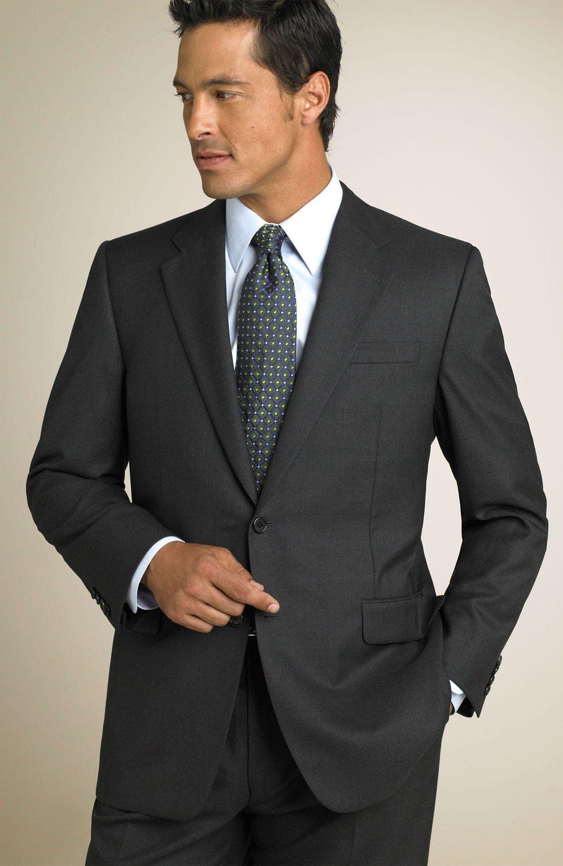 'Madison' Navy Loro Piana Wool Suit,                             Main thumbnail 1, color,                             GRY