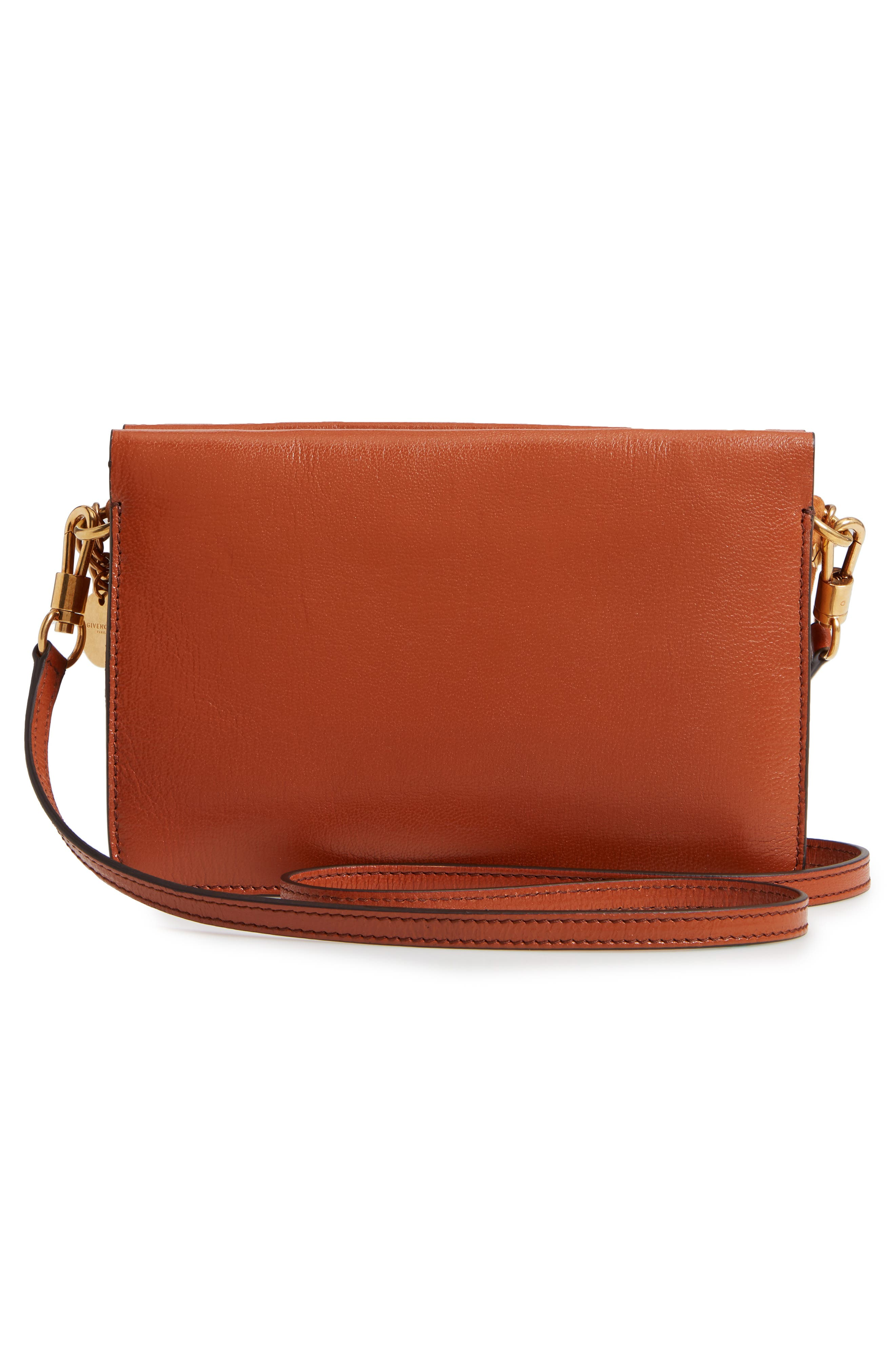 GIVENCHY,                             Cross 3 Leather Crossbody Bag,                             Alternate thumbnail 3, color,                             CHESTNUT
