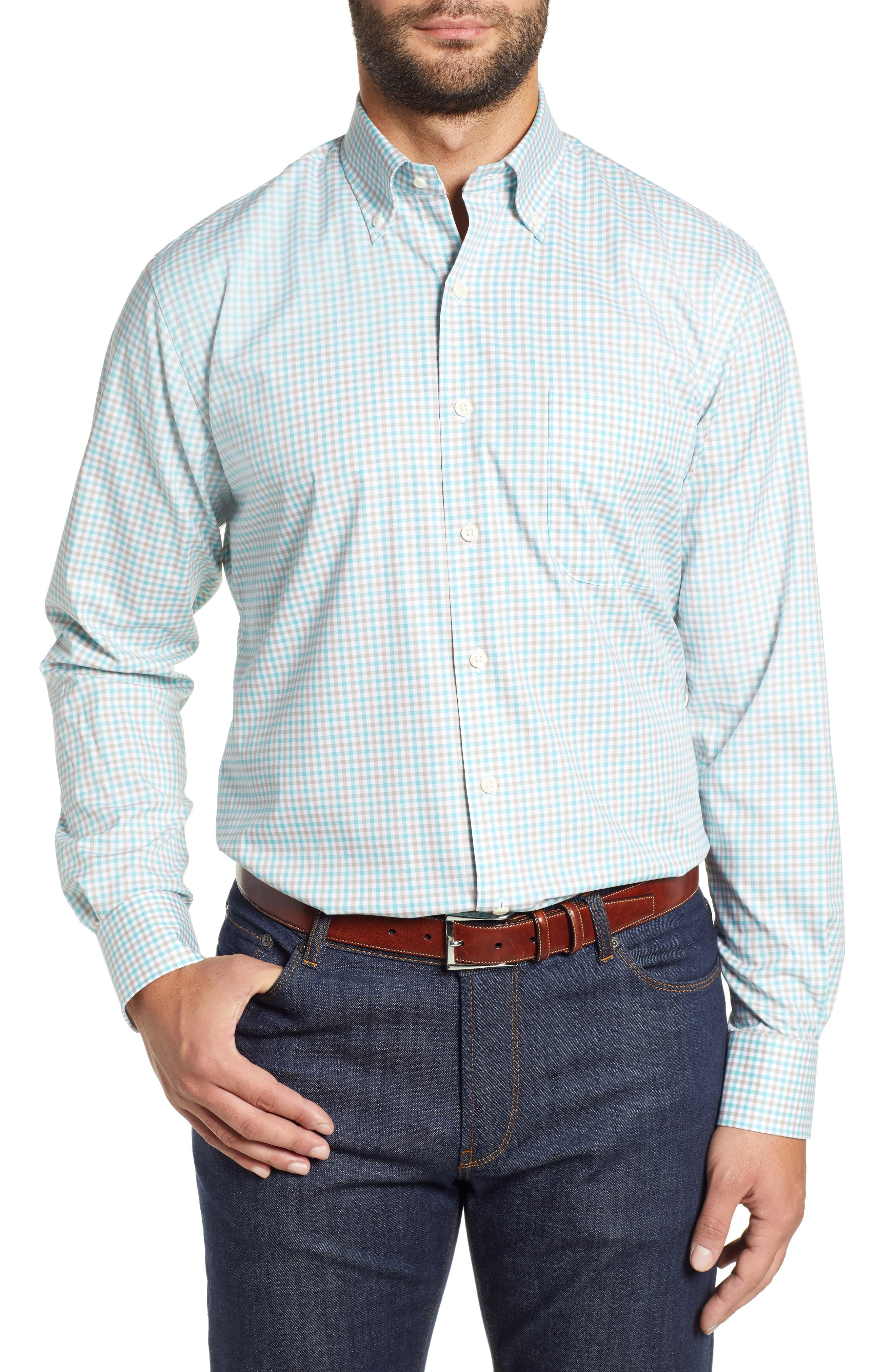 Crown Ease Marketplace Regular Fit Check Sport Shirt,                             Main thumbnail 1, color,                             GREEN
