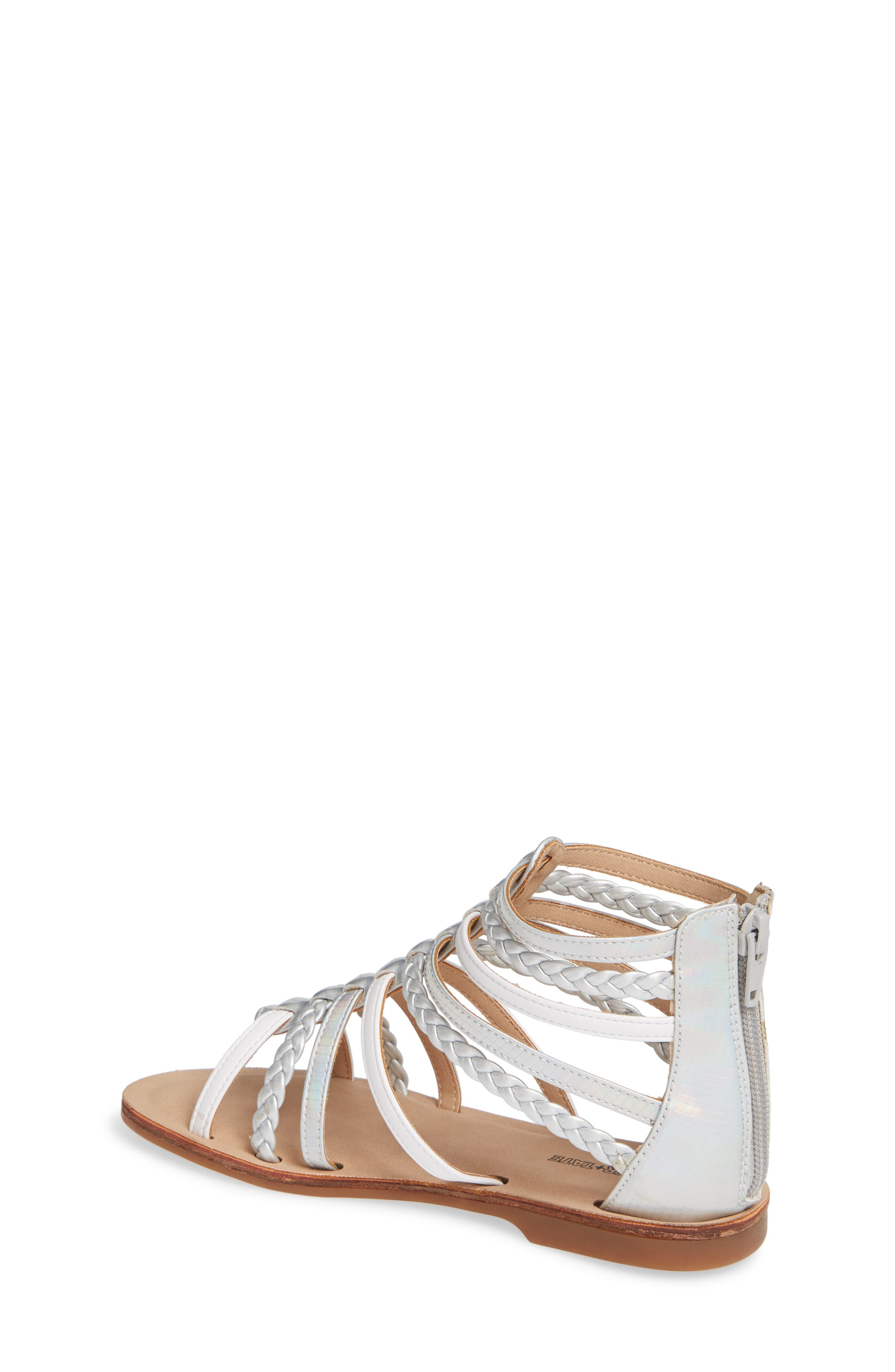 Sonja Braided Gladiator Sandal,                             Alternate thumbnail 2, color,                             WHITE/SILVER FAUX LEATHER