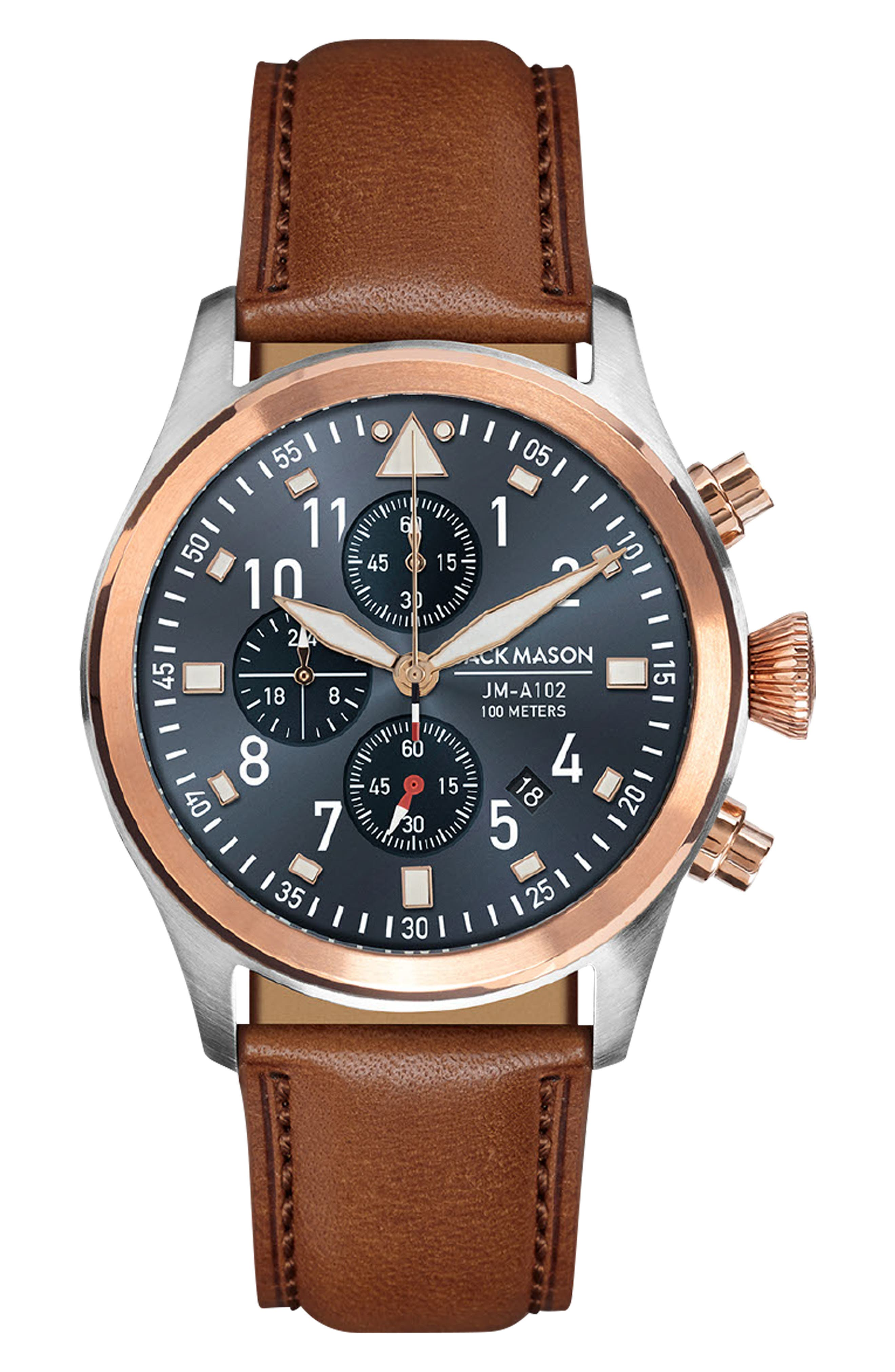 Aviation Leather Strap Chronograph Watch,                         Main,                         color, BLUE