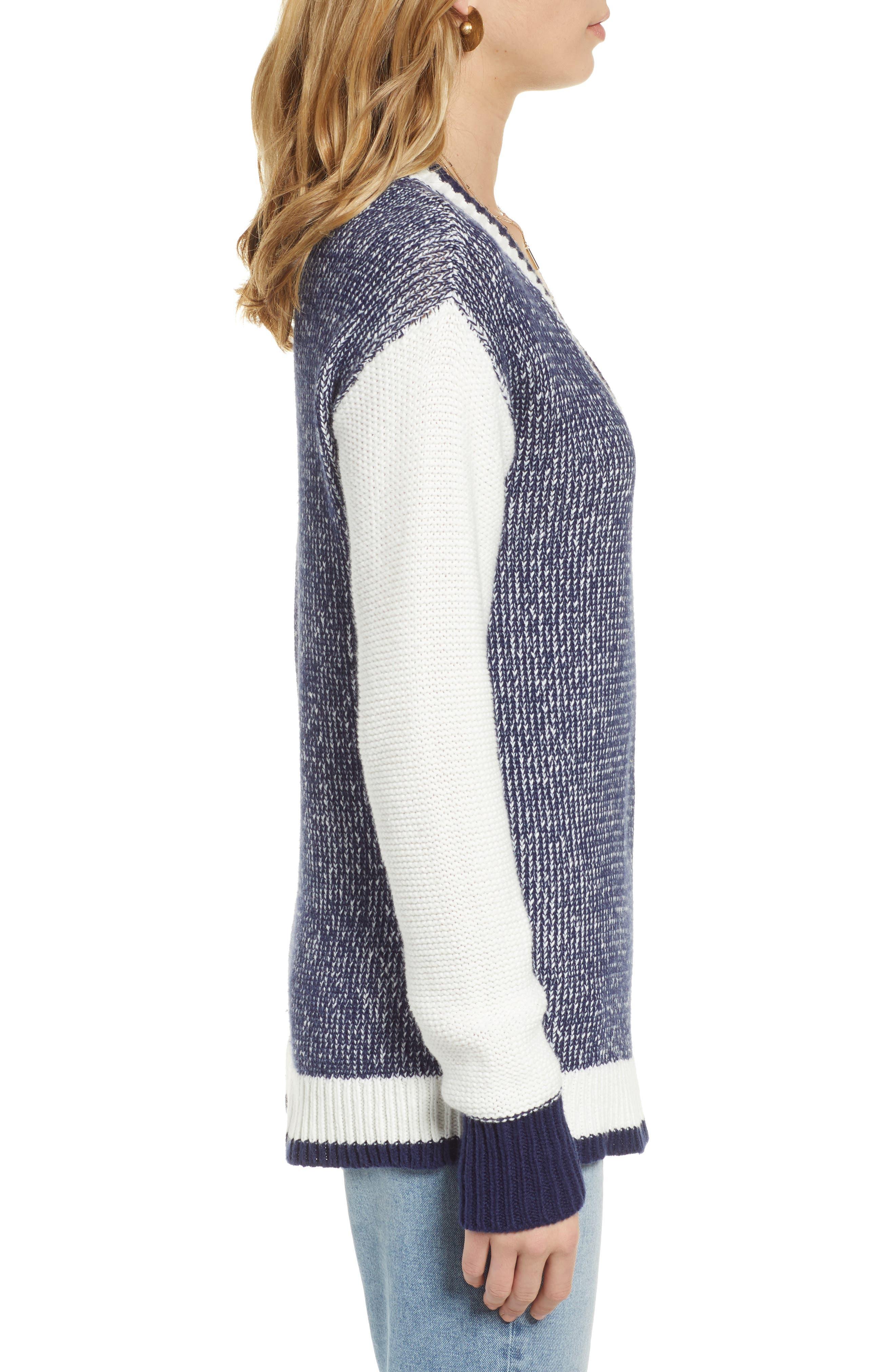 Marled V-Neck Sweater,                             Alternate thumbnail 3, color,                             NAVY MARITIME- WHITE COMBO