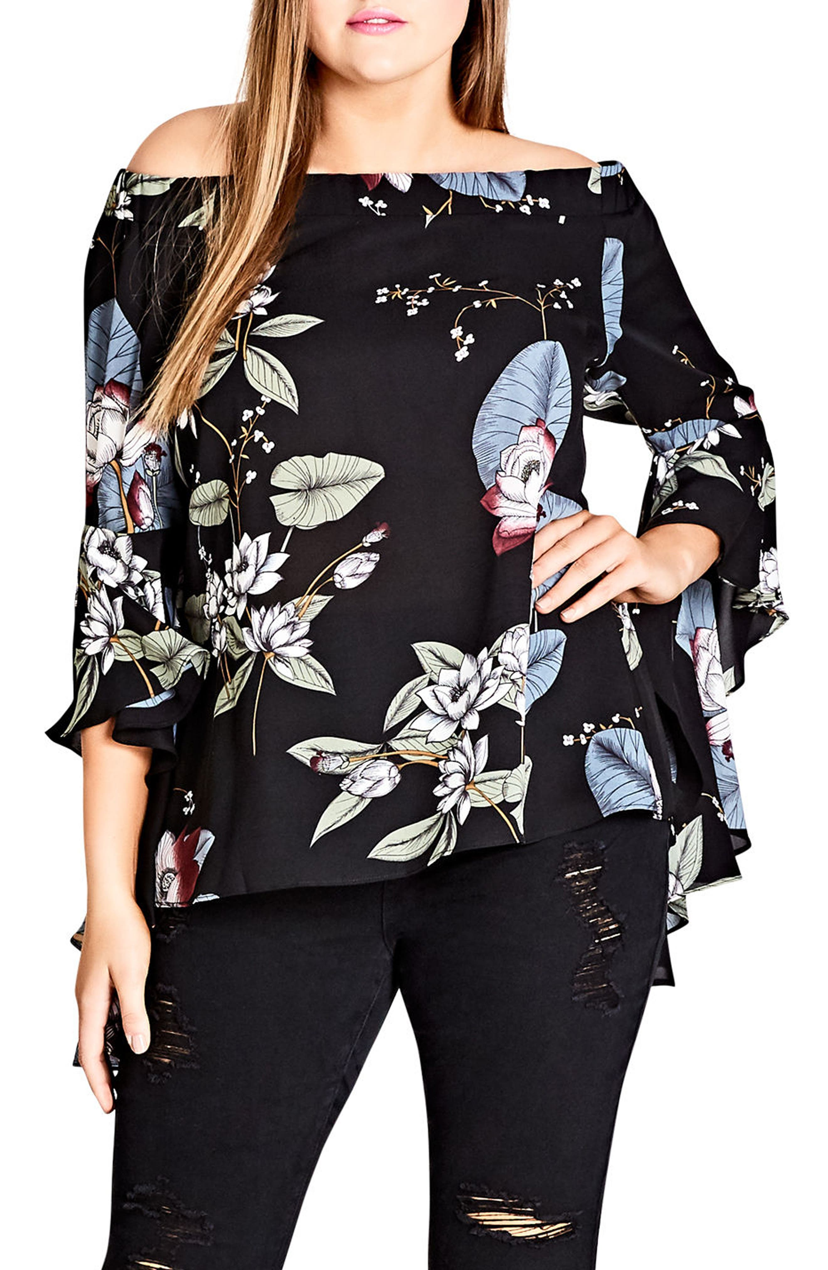 CITY CHIC Blossom Top, Main, color, 001