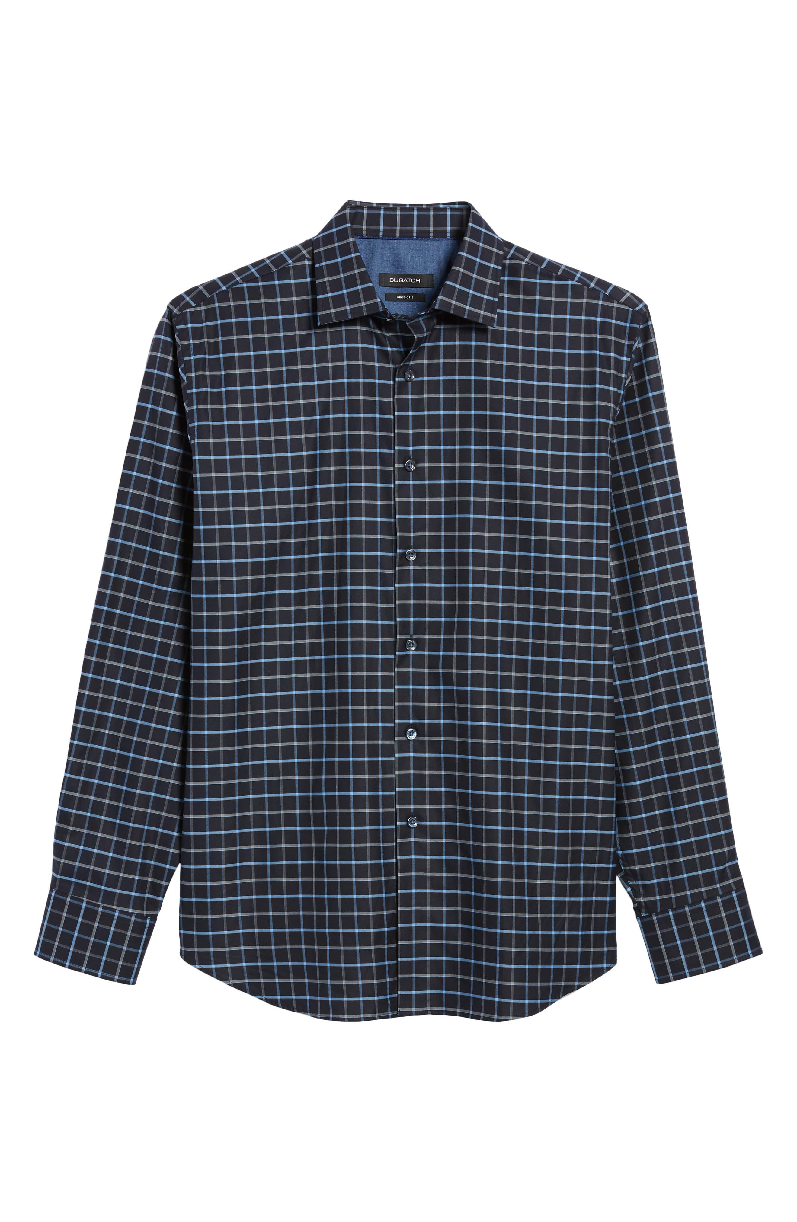 Classic Fit Grid Print Sport Shirt,                             Alternate thumbnail 6, color,                             001