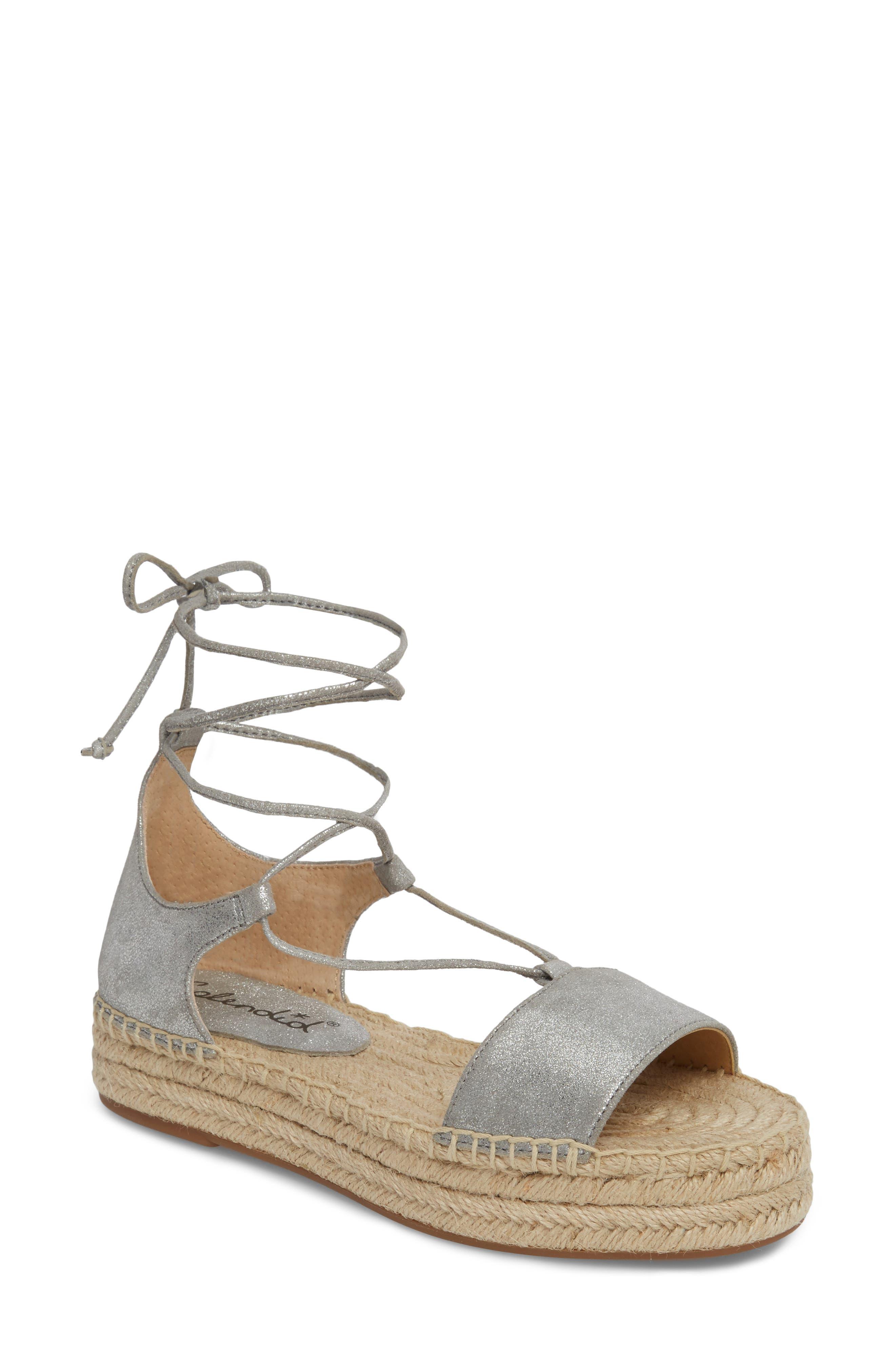 Fernanda Wraparound Platform Sandal,                         Main,                         color, SILVER SUEDE