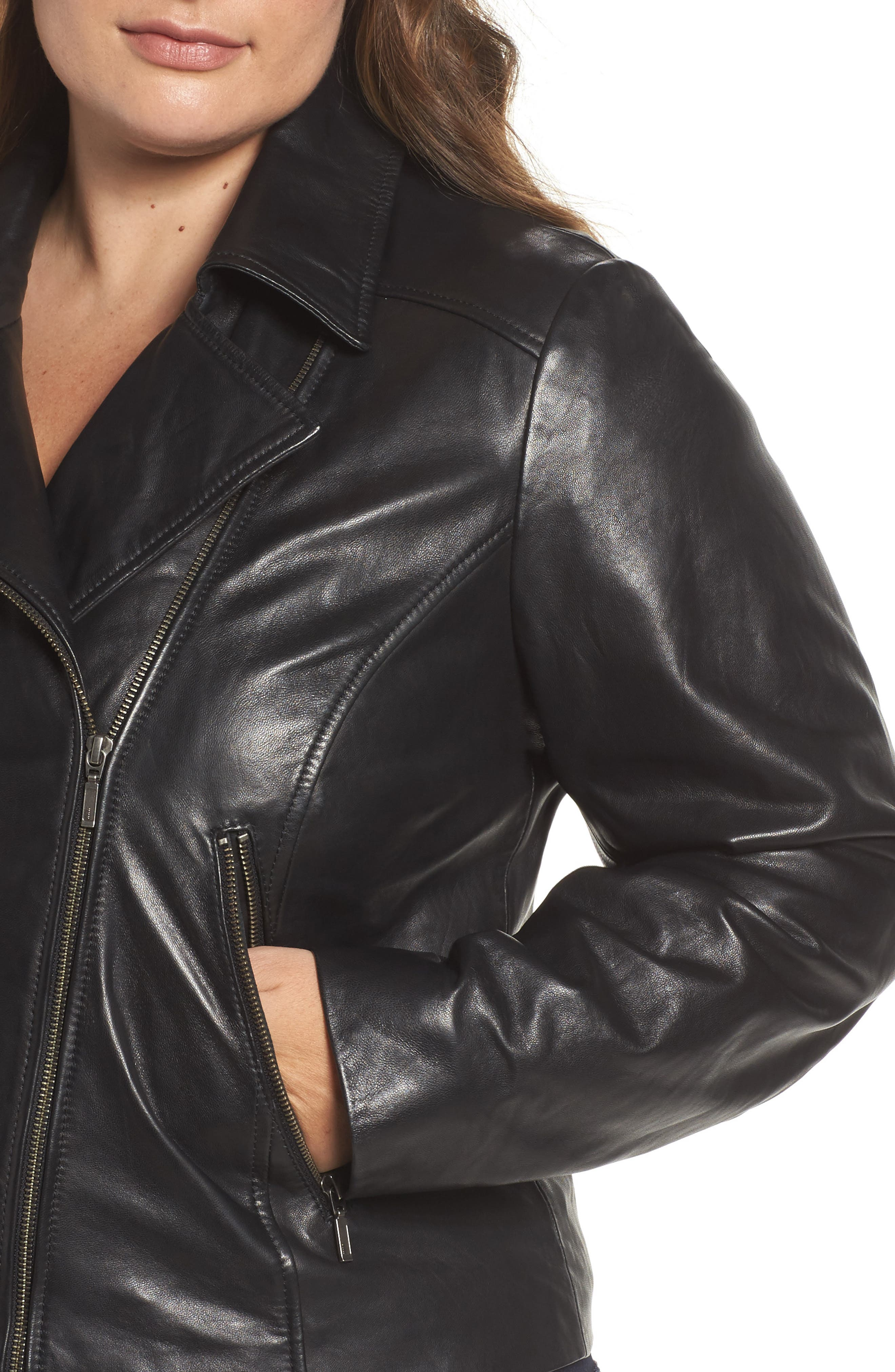 Leather Moto Jacket,                             Alternate thumbnail 14, color,