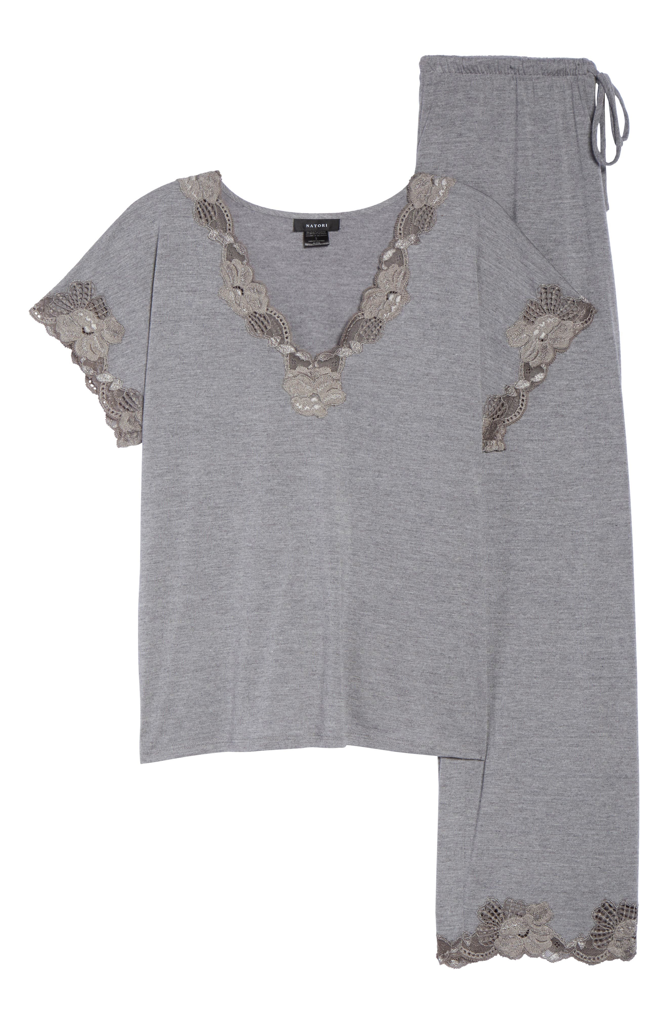 'Zen Floral' Pajama Set,                             Alternate thumbnail 6, color,                             PASTEL GREY