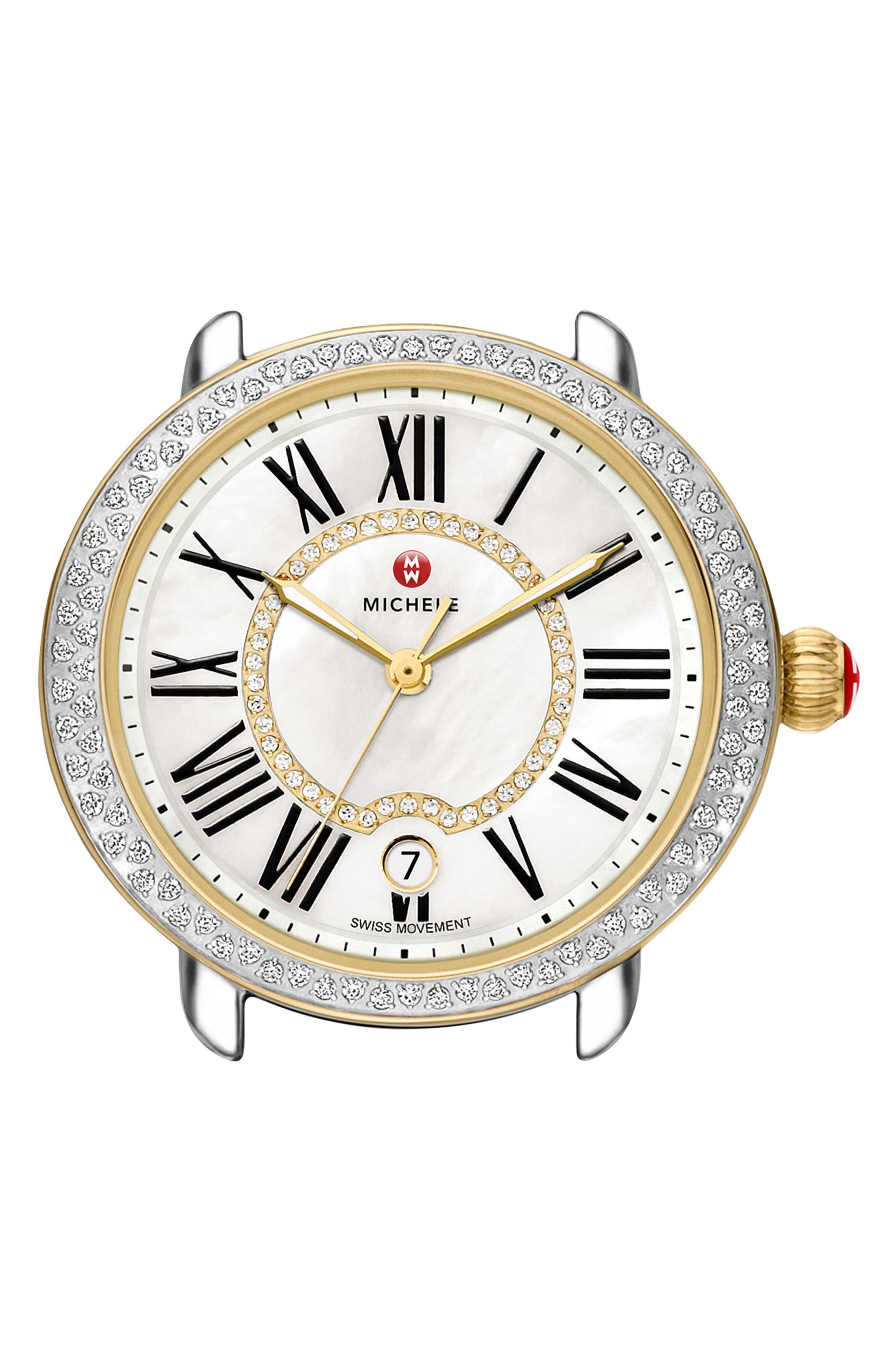Serein 16 Diamond Watch Case, 34mm x 36mm,                         Main,                         color, GOLD/ SILVER