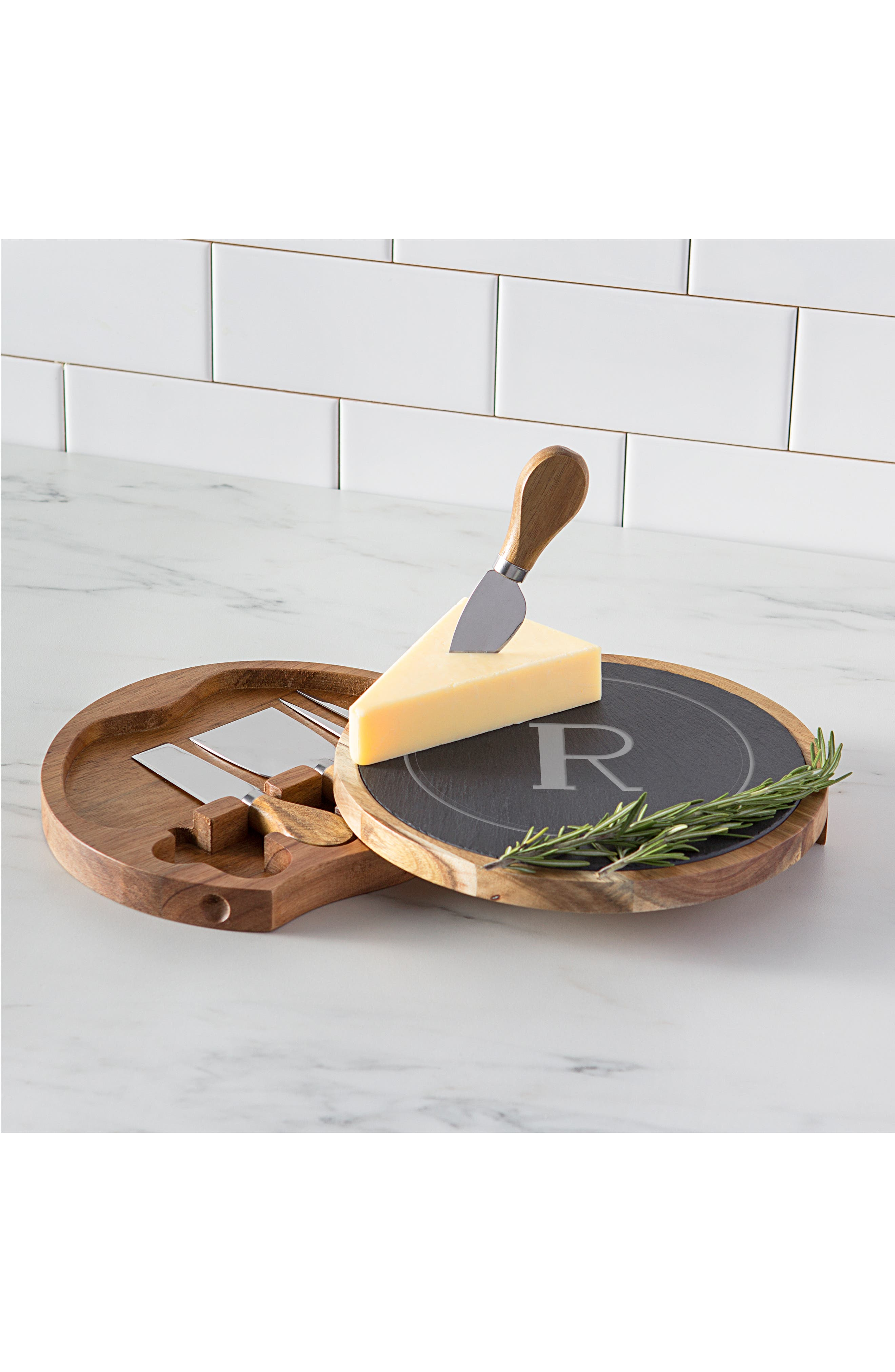 Monogram 5-Piece Cheese Board & Utensil Set,                             Alternate thumbnail 6, color,                             BROWN