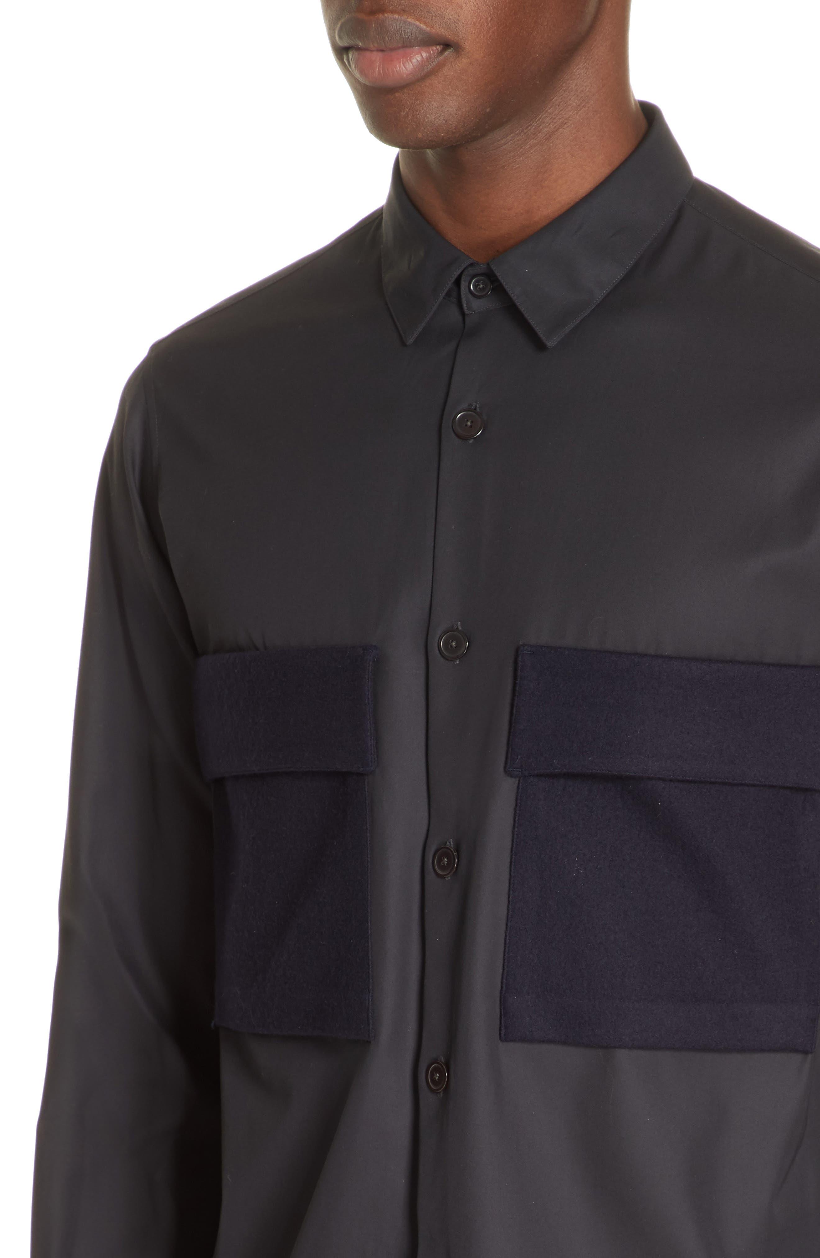 Gabardine Woven Shirt,                             Alternate thumbnail 2, color,                             NAVY