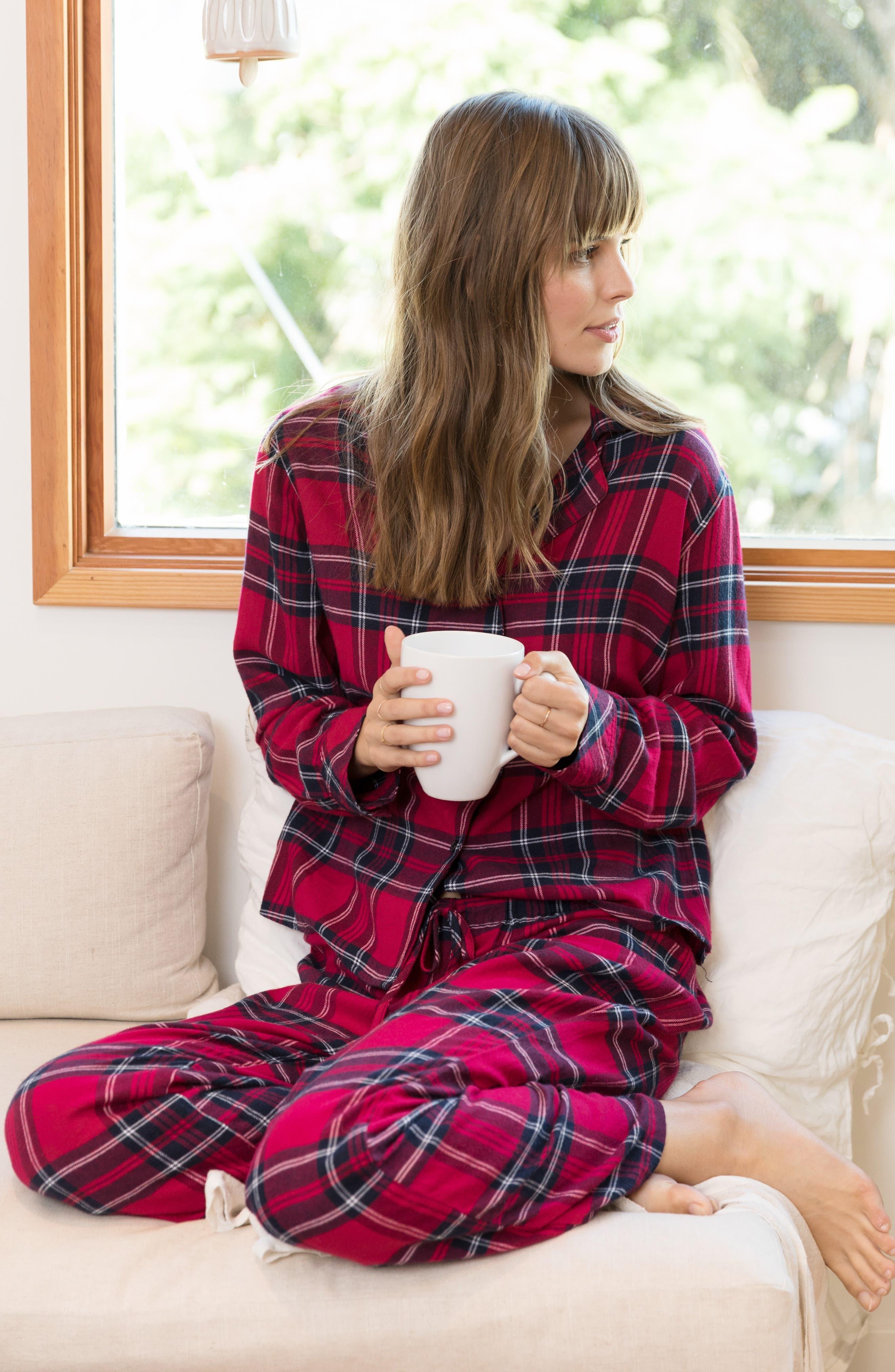 Plaid Pajamas,                             Alternate thumbnail 7, color,                             SCARLET NAVY WHITE