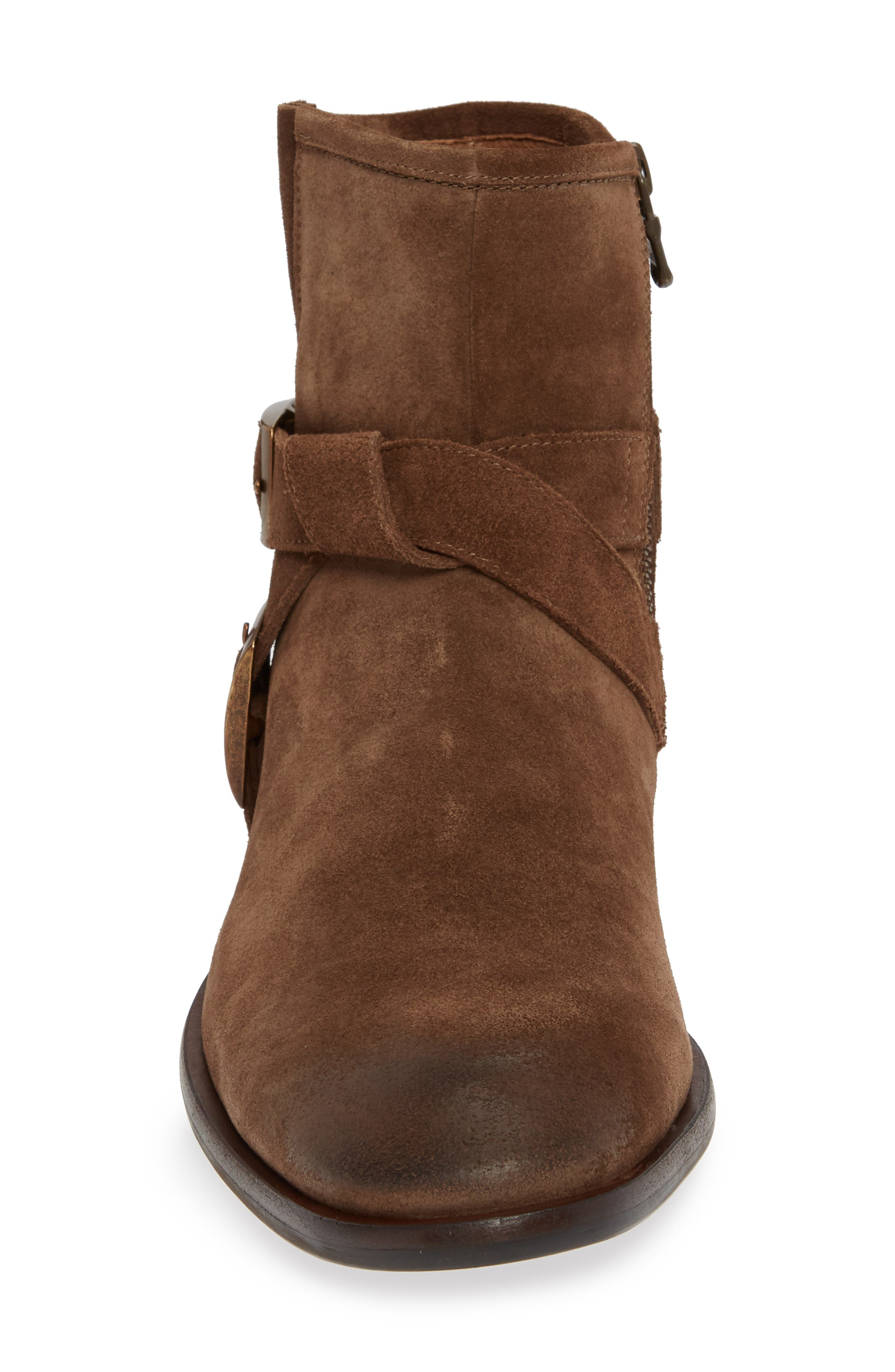 John Varvatos NYC Double Buckle Tall Boot,                             Alternate thumbnail 4, color,                             ANTIQUE BROWN SUEDE