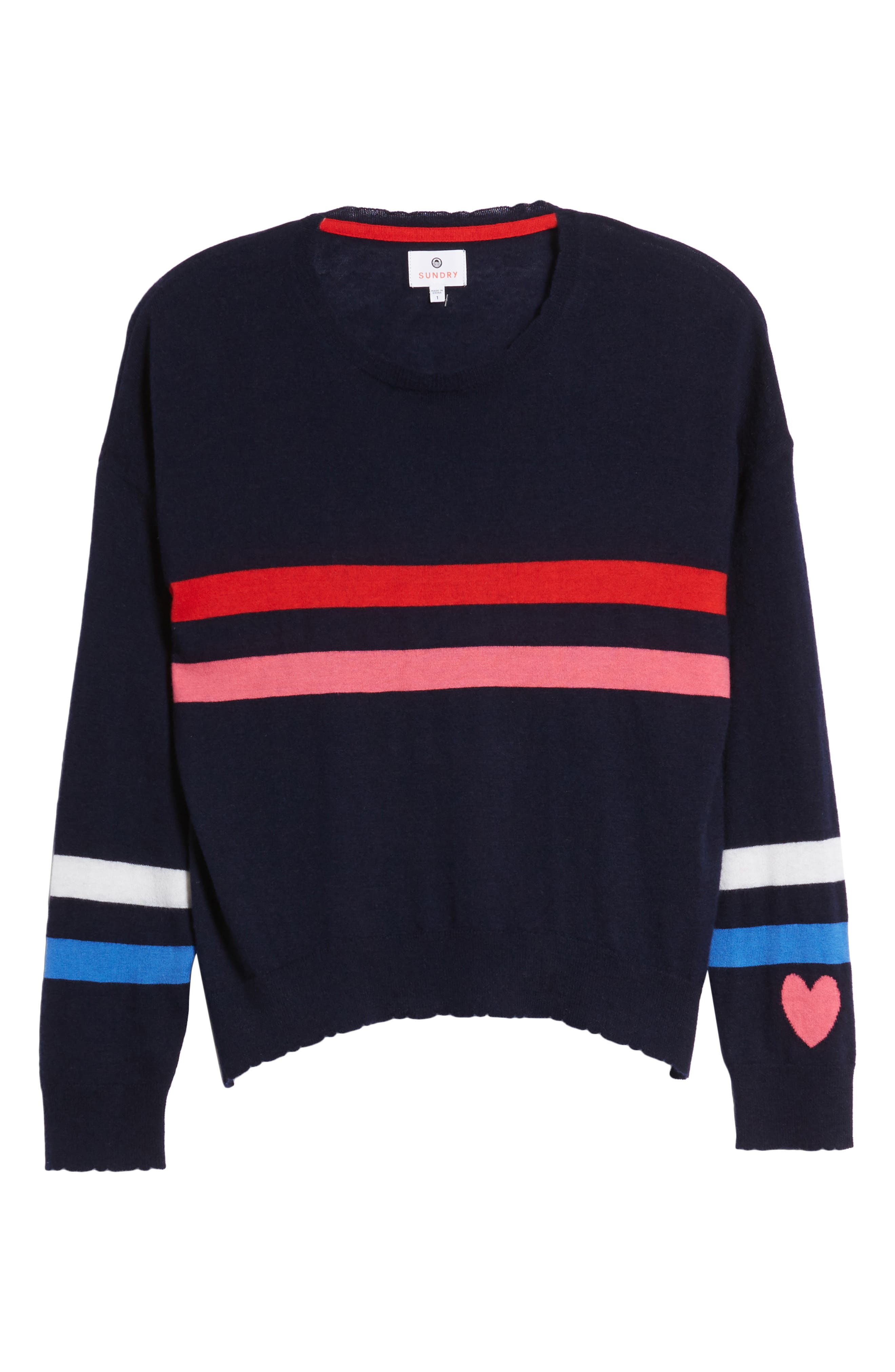 Stripe Wool & Cashmere Sweater,                             Alternate thumbnail 7, color,