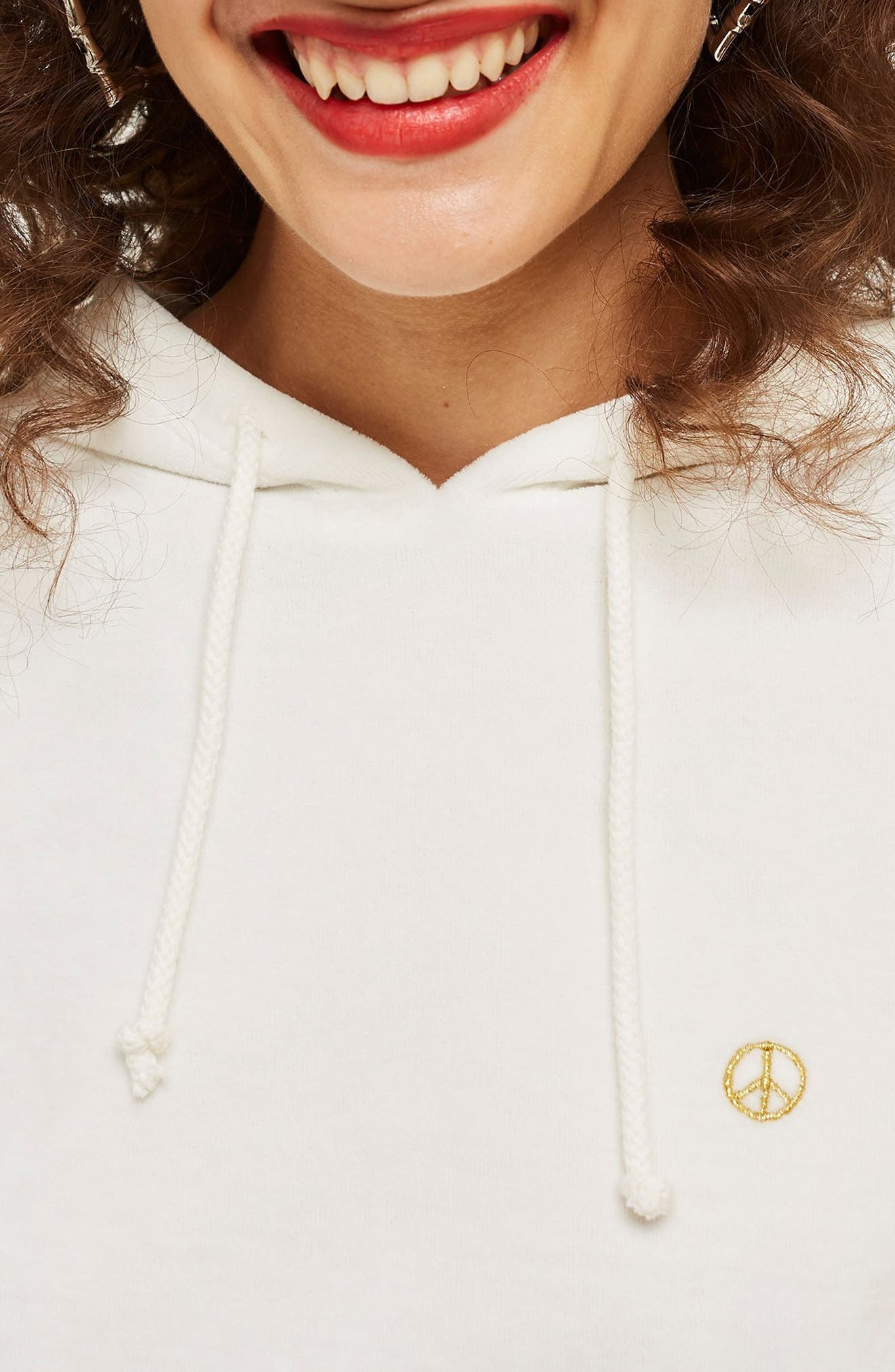 Peace Sign Velour Hoodie,                             Alternate thumbnail 3, color,                             WHITE