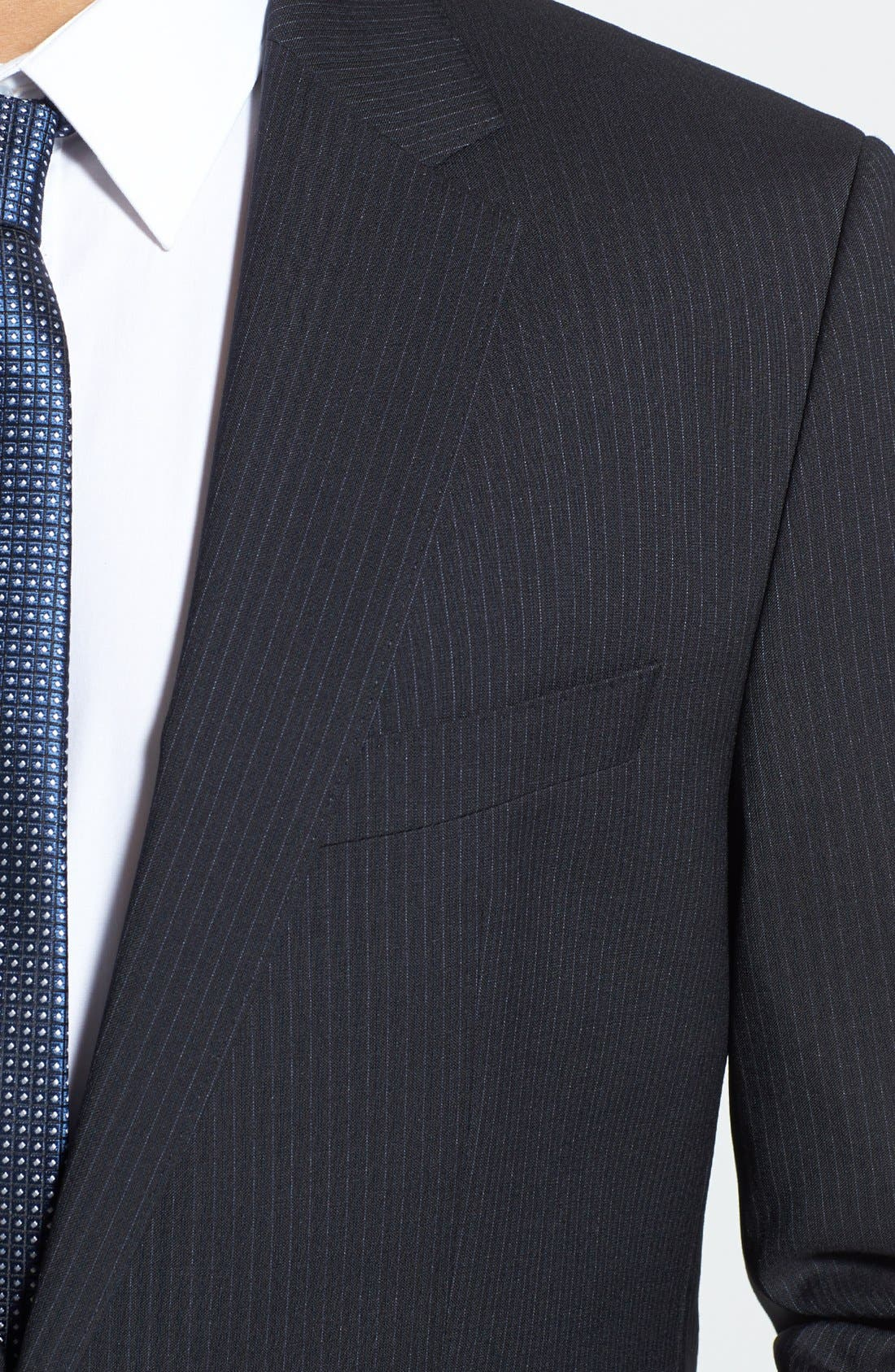 BOSS 'James/Sharp' Trim Fit Stripe Suit,                             Alternate thumbnail 6, color,                             410